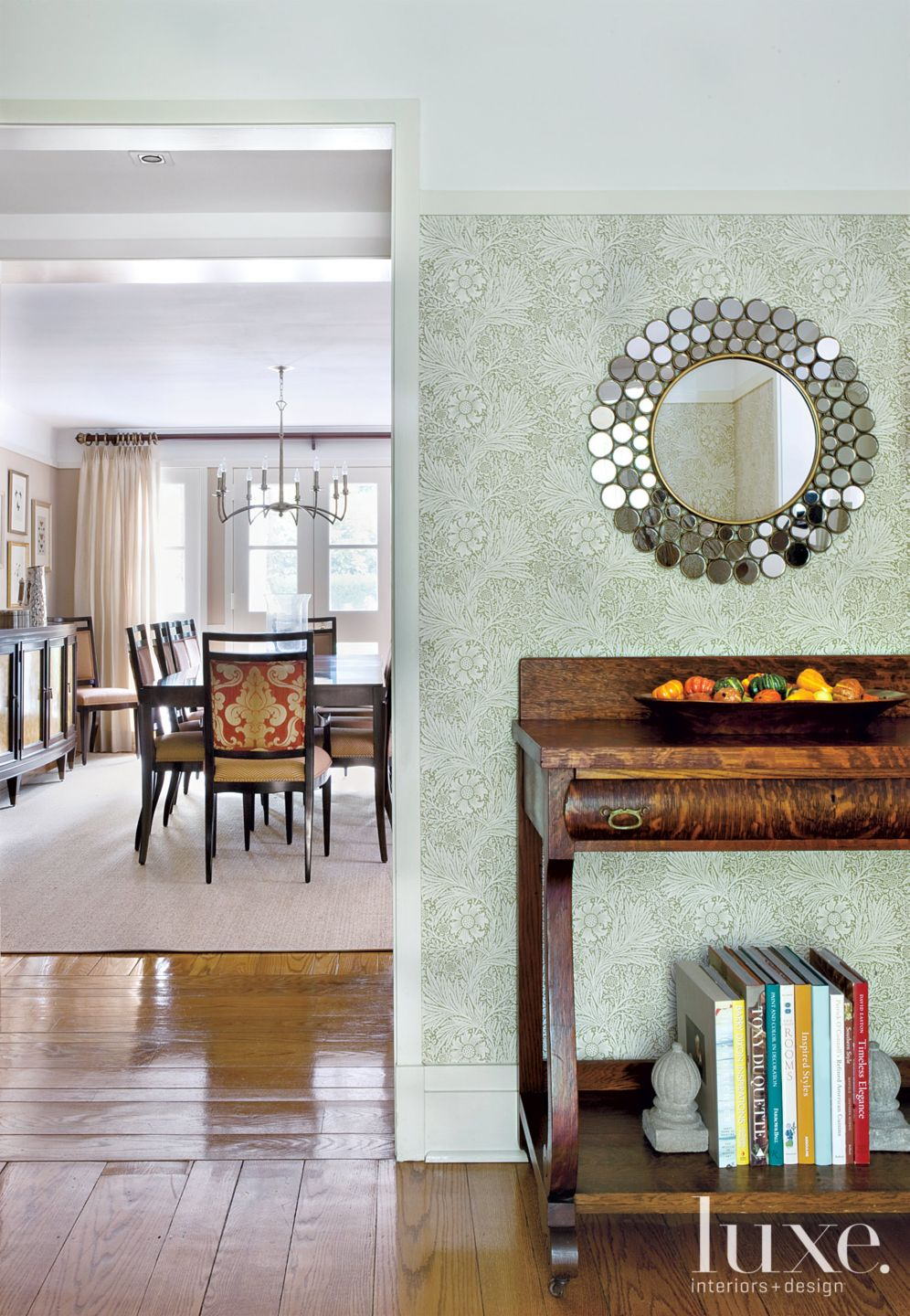 Transitional Green Entry with Circle Mirror