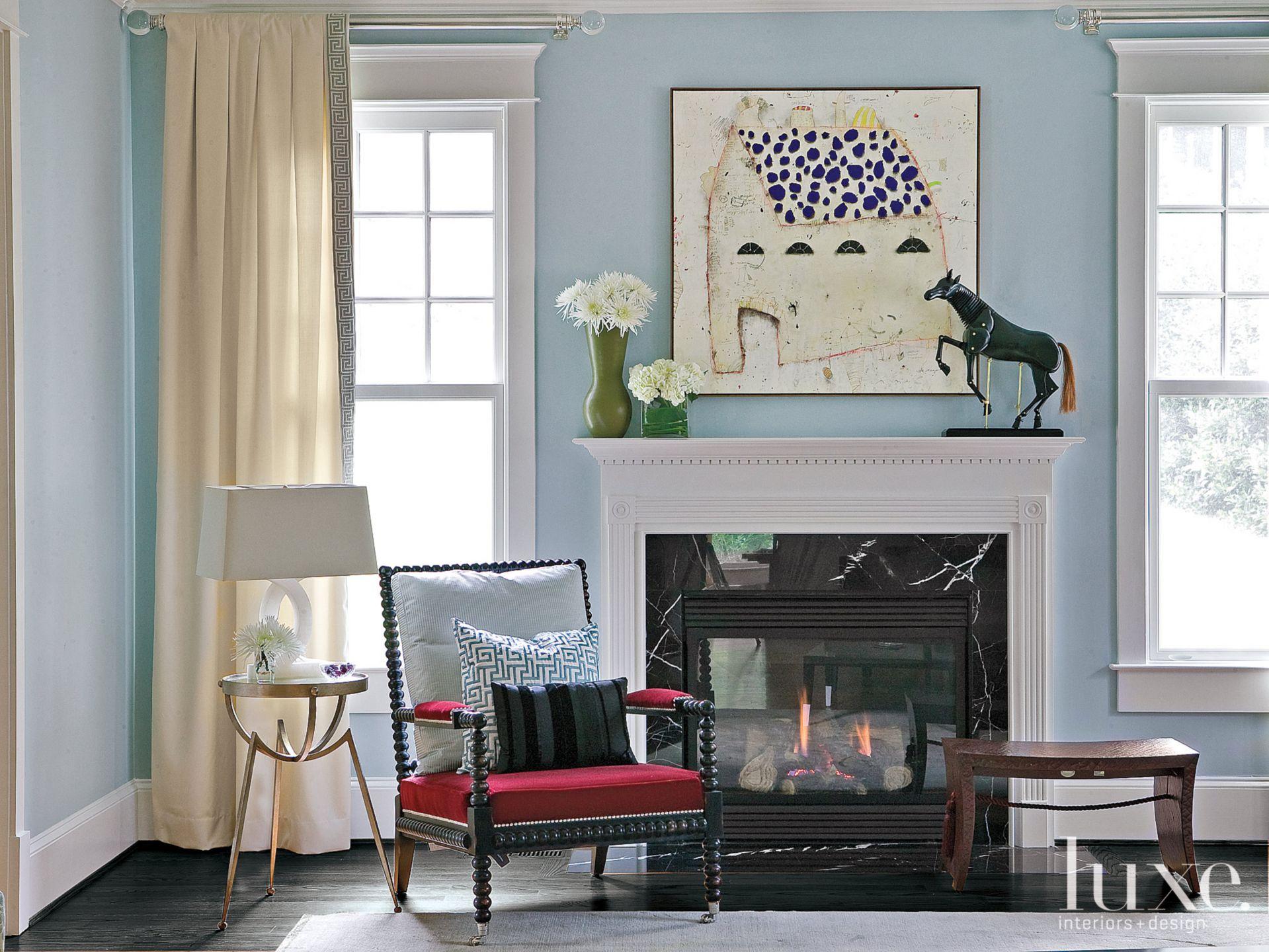Blue Eclectic Living Room Vignette