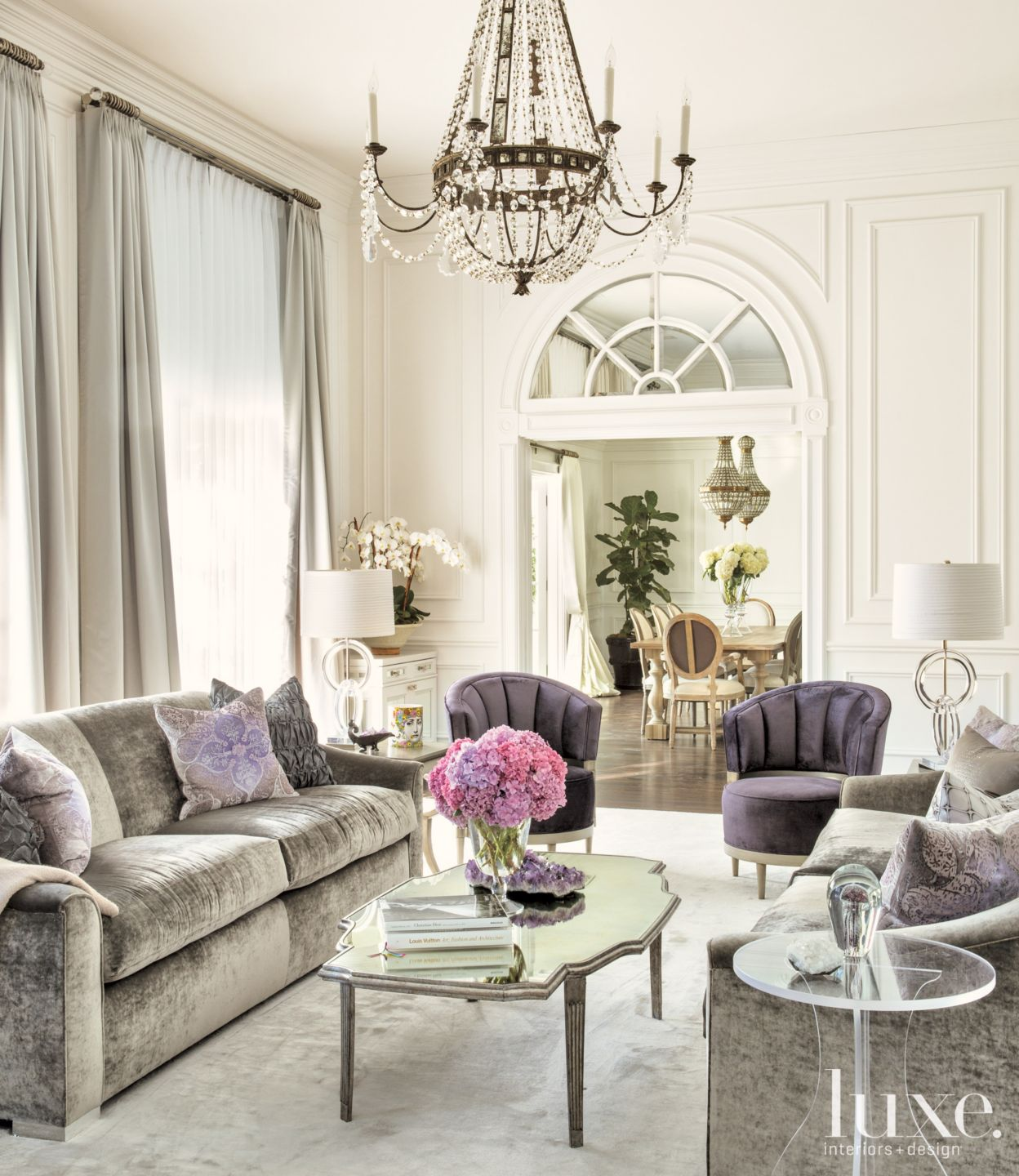 White Transitional Living Room with Purple Accents