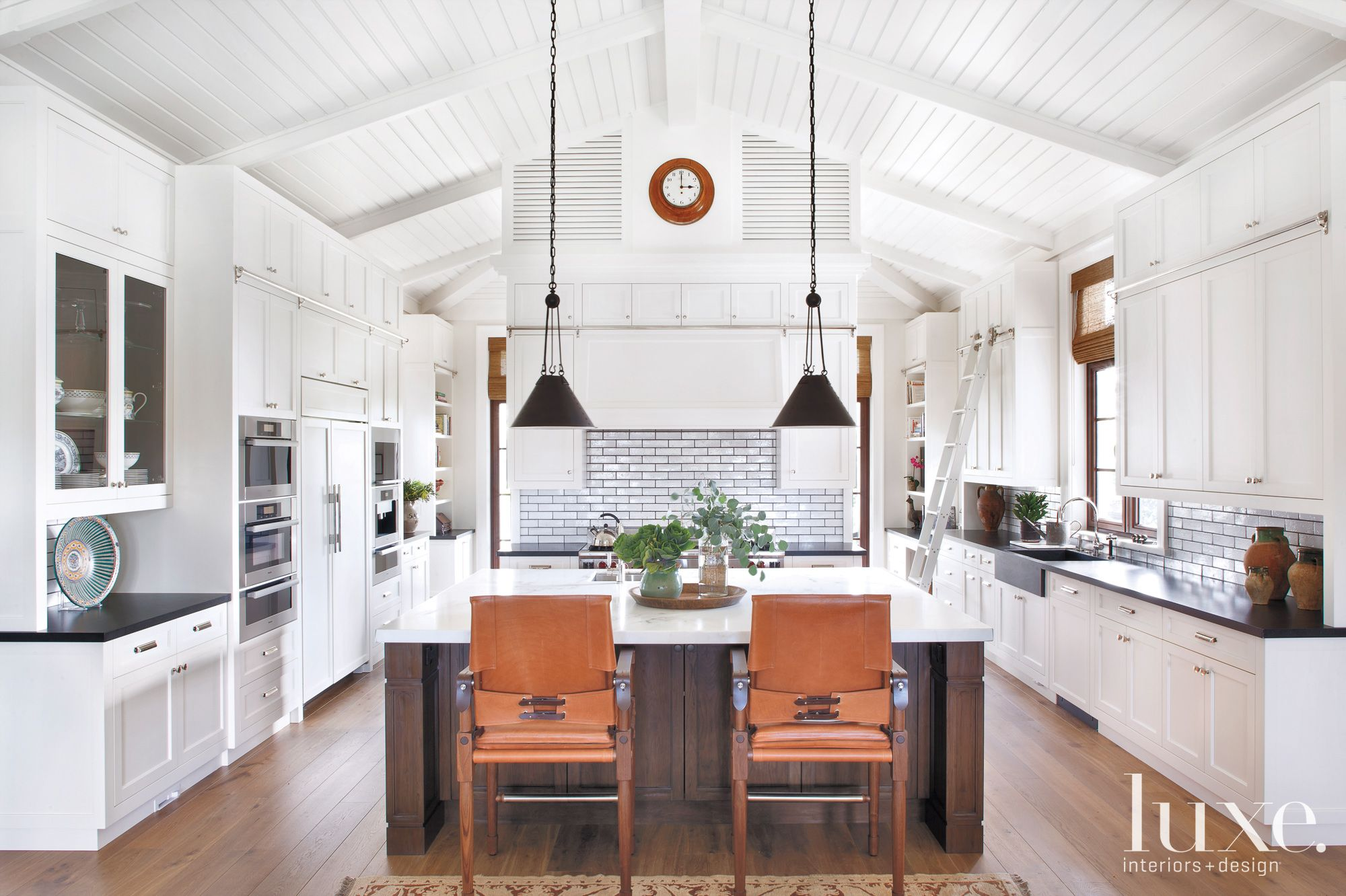 White Traditional Kitchen with Painted-White Oak Cabinetry