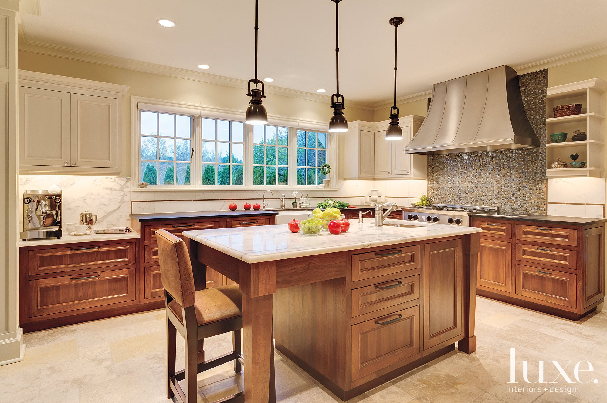 Transitional Neutral Kitchen with Bronze Inlay Backsplash