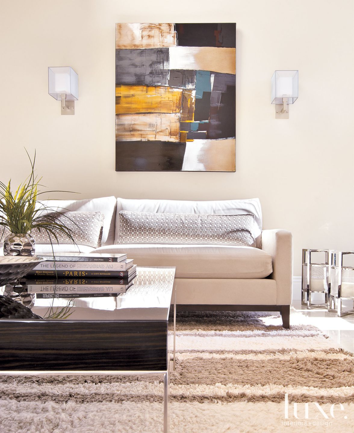 Contemporary White Living Room Vignette with Knotted Rug