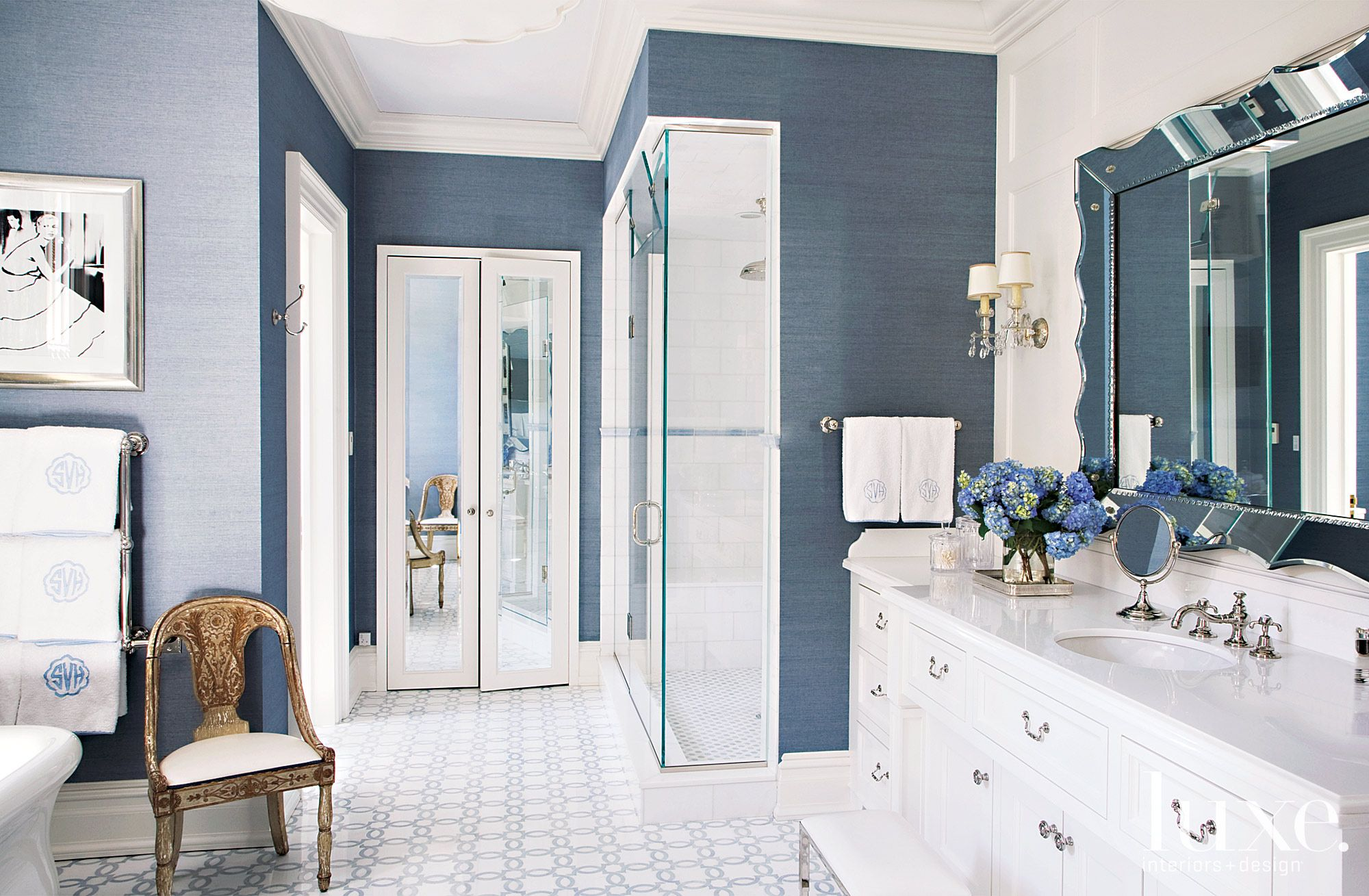 Traditional Blue Bathroom with Grasscloth Wallcovering