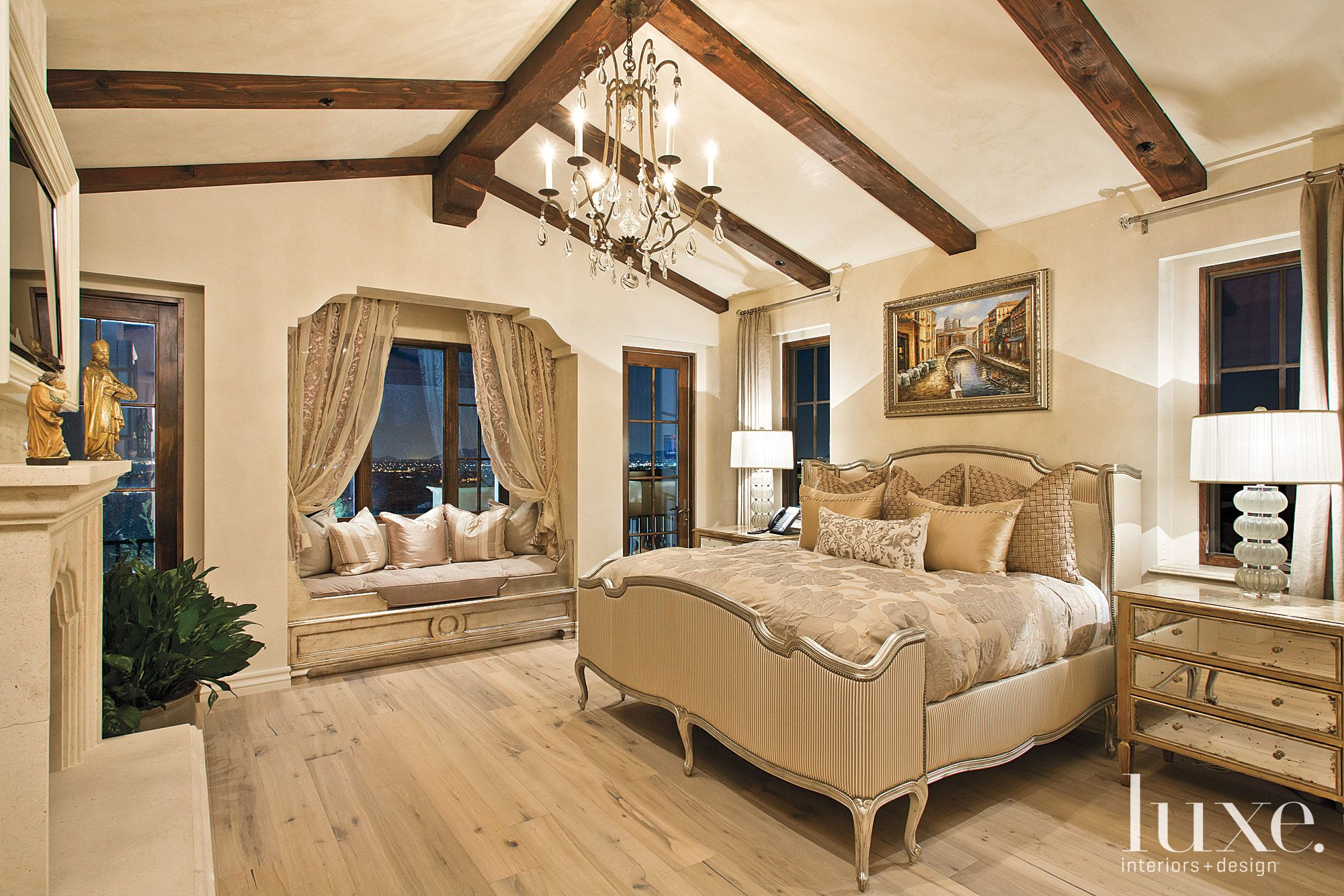 Traditional Neutral Bedroom with Window Seat