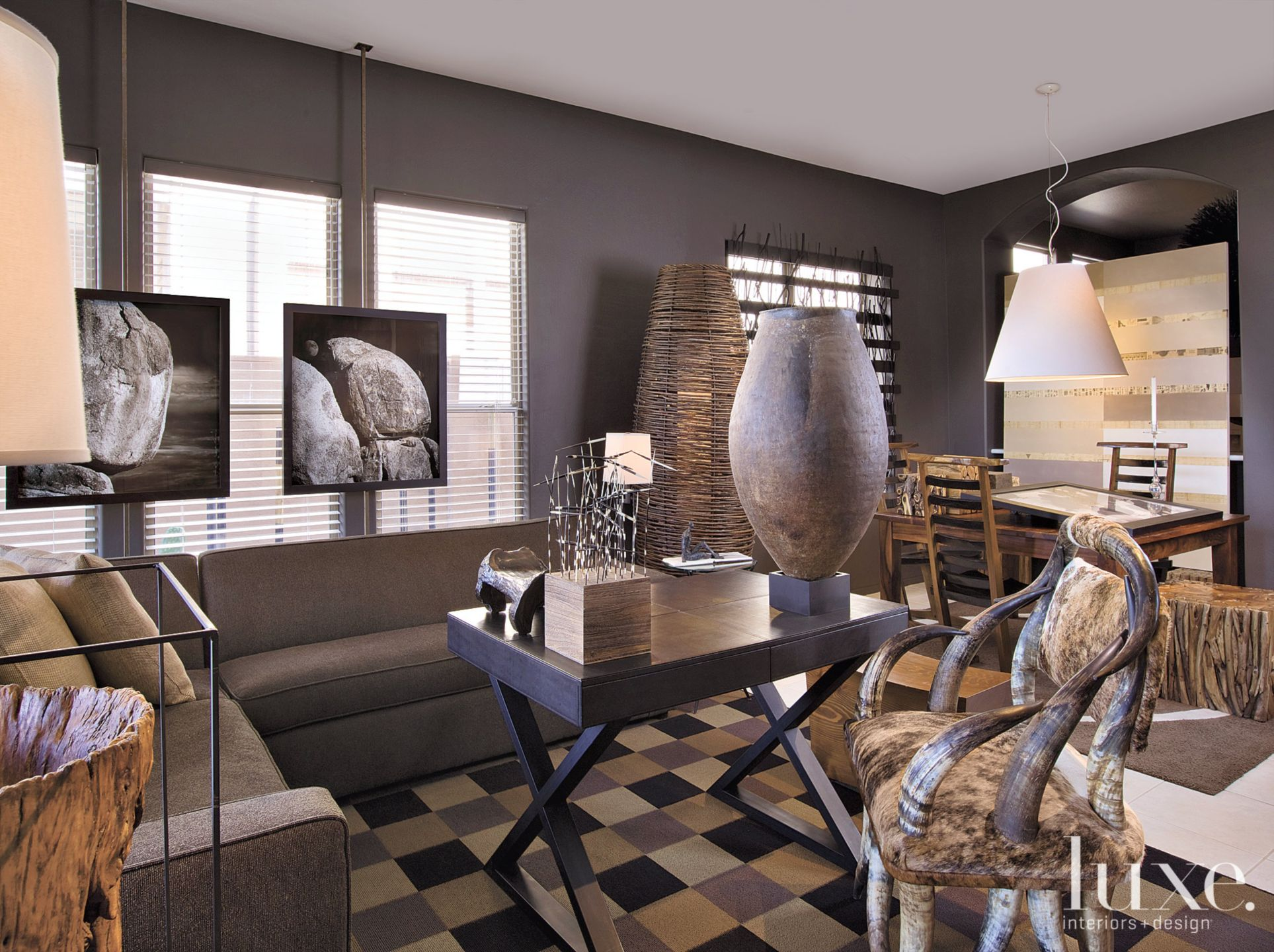 Eclectic Brown Living Area with Cowhide Chair