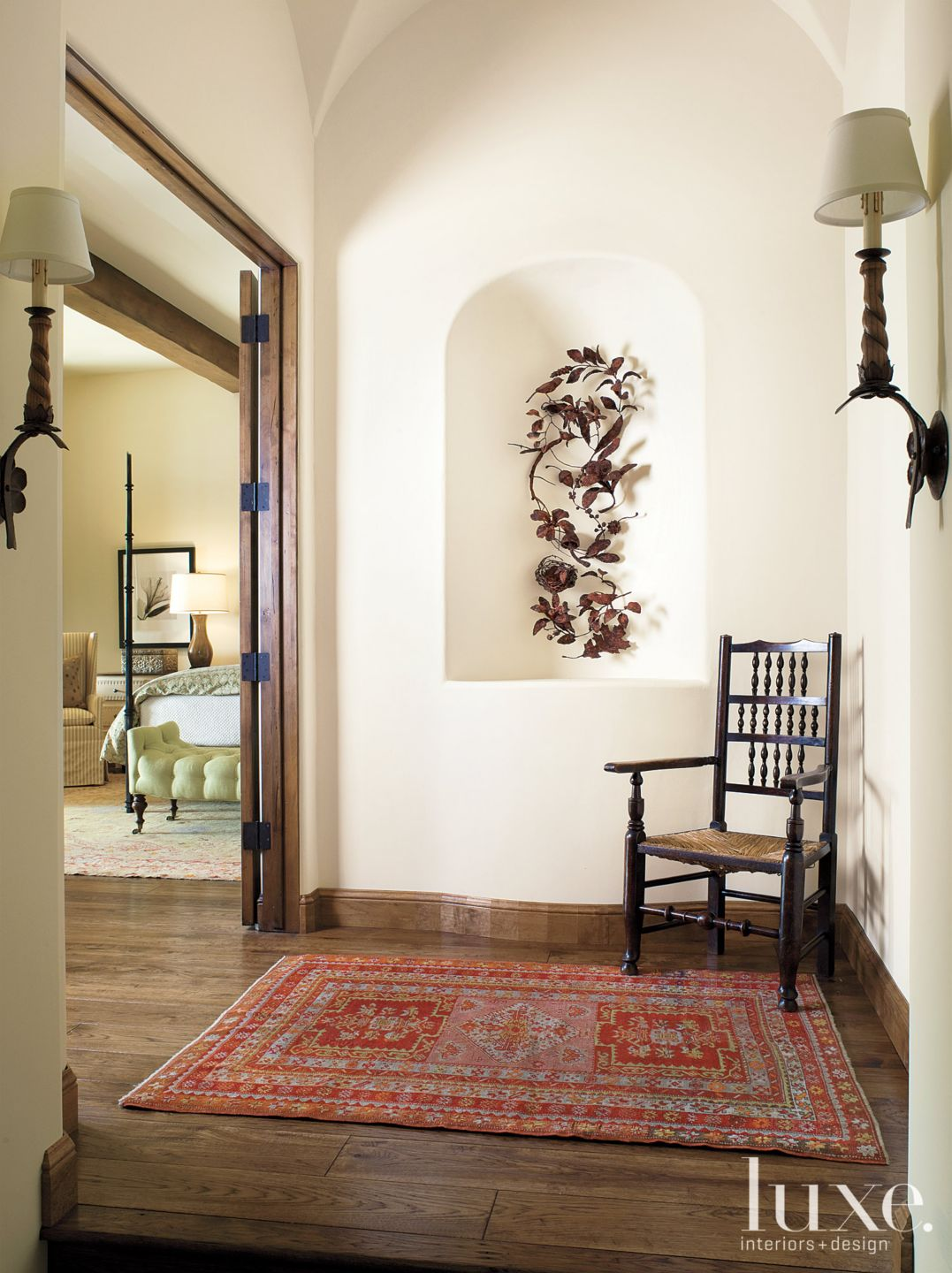 Eclectic White Hall with Iron Bird Sculpture