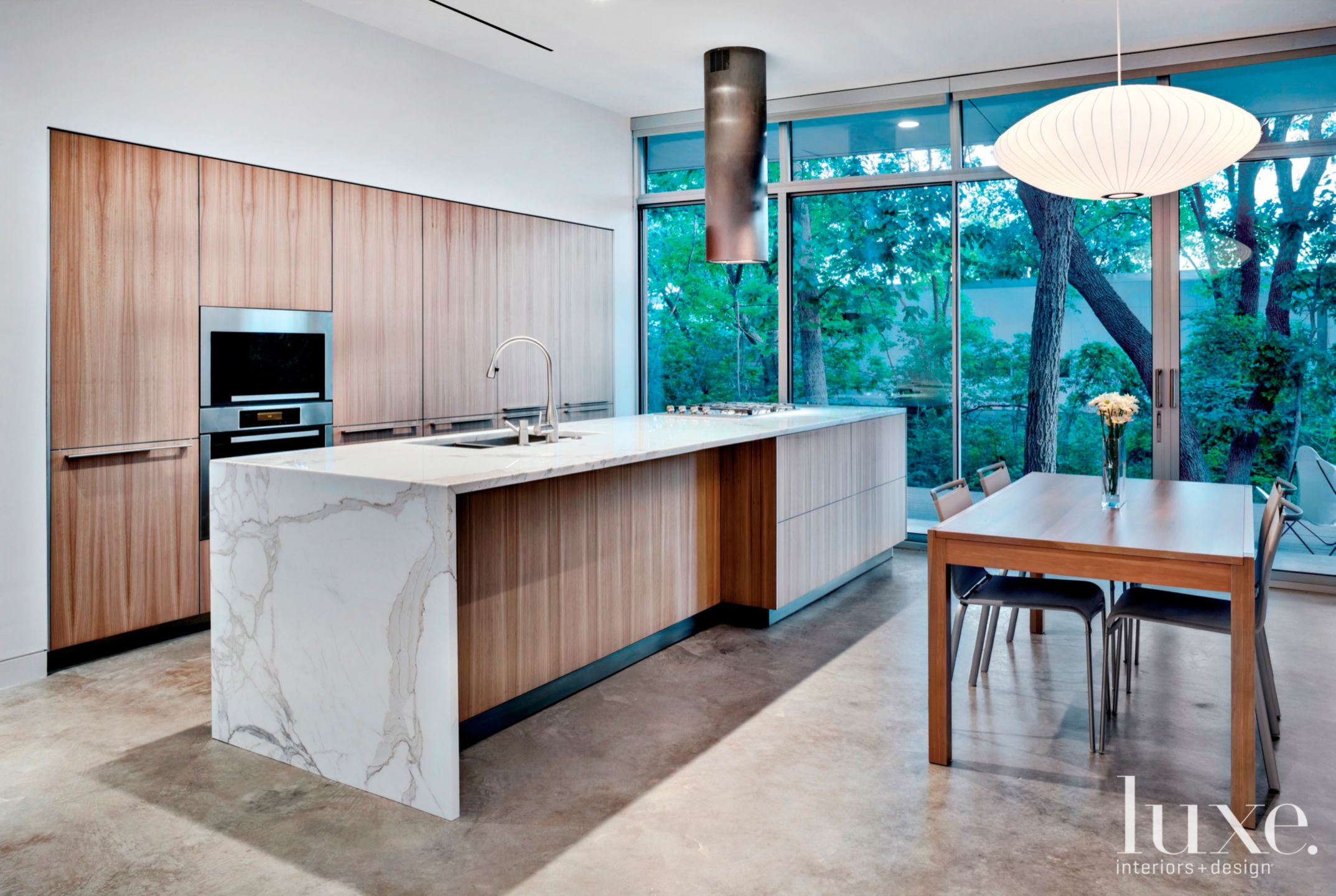 Modern White Kitchen with Elm Cabinetry