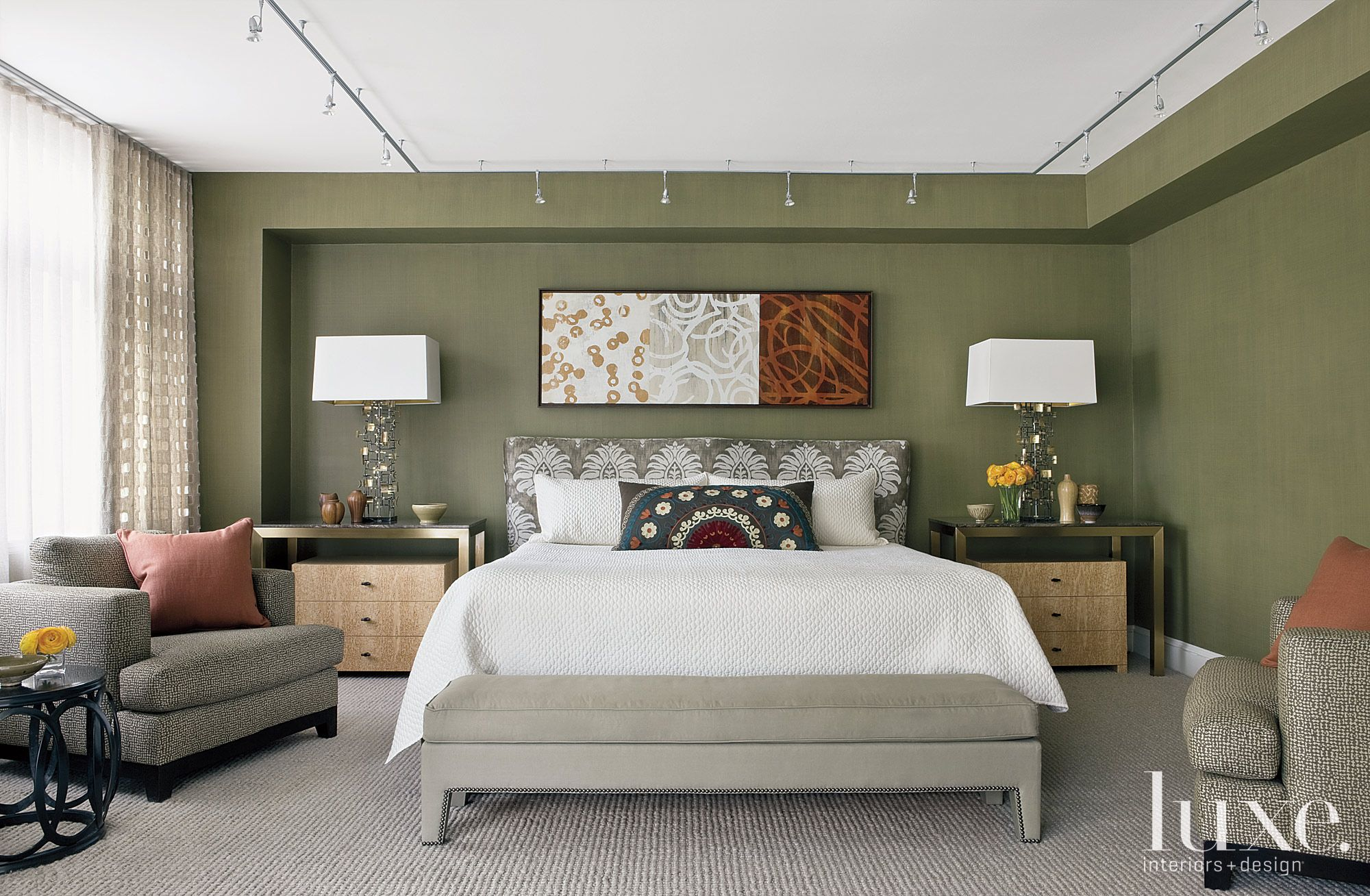 Contemporary Olive Master Bedroom