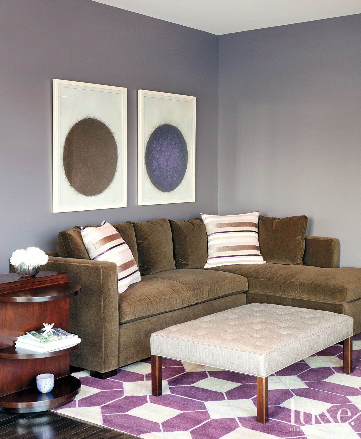 Transitional Gray Media Room with Velvet Sectional