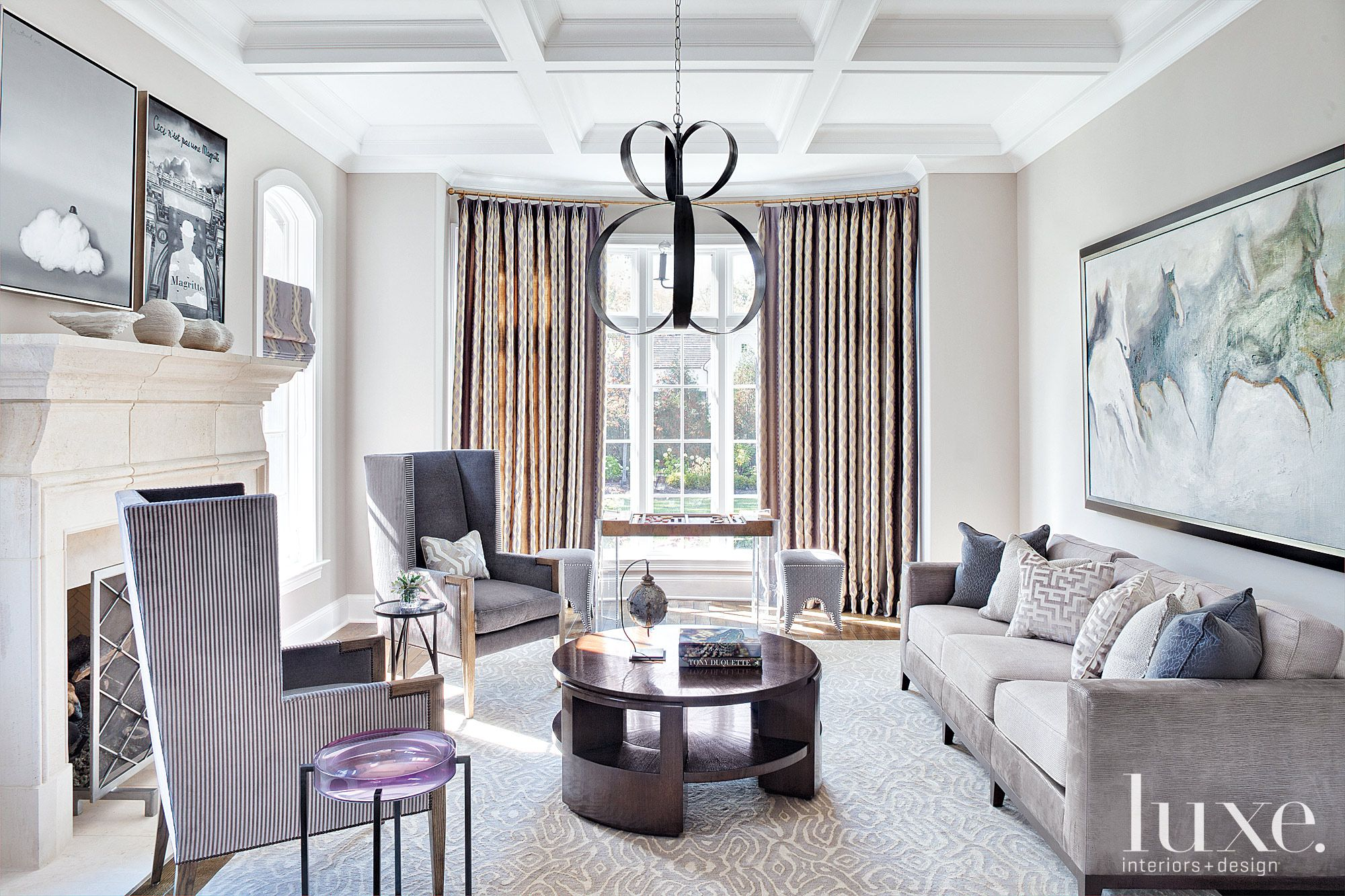 Contemporary White Living Room with Lavender Accents