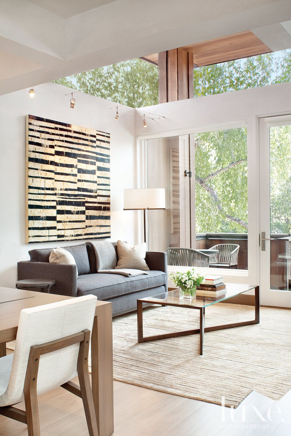 Modern Neutral Living Room with Wool-and-Silk Rug