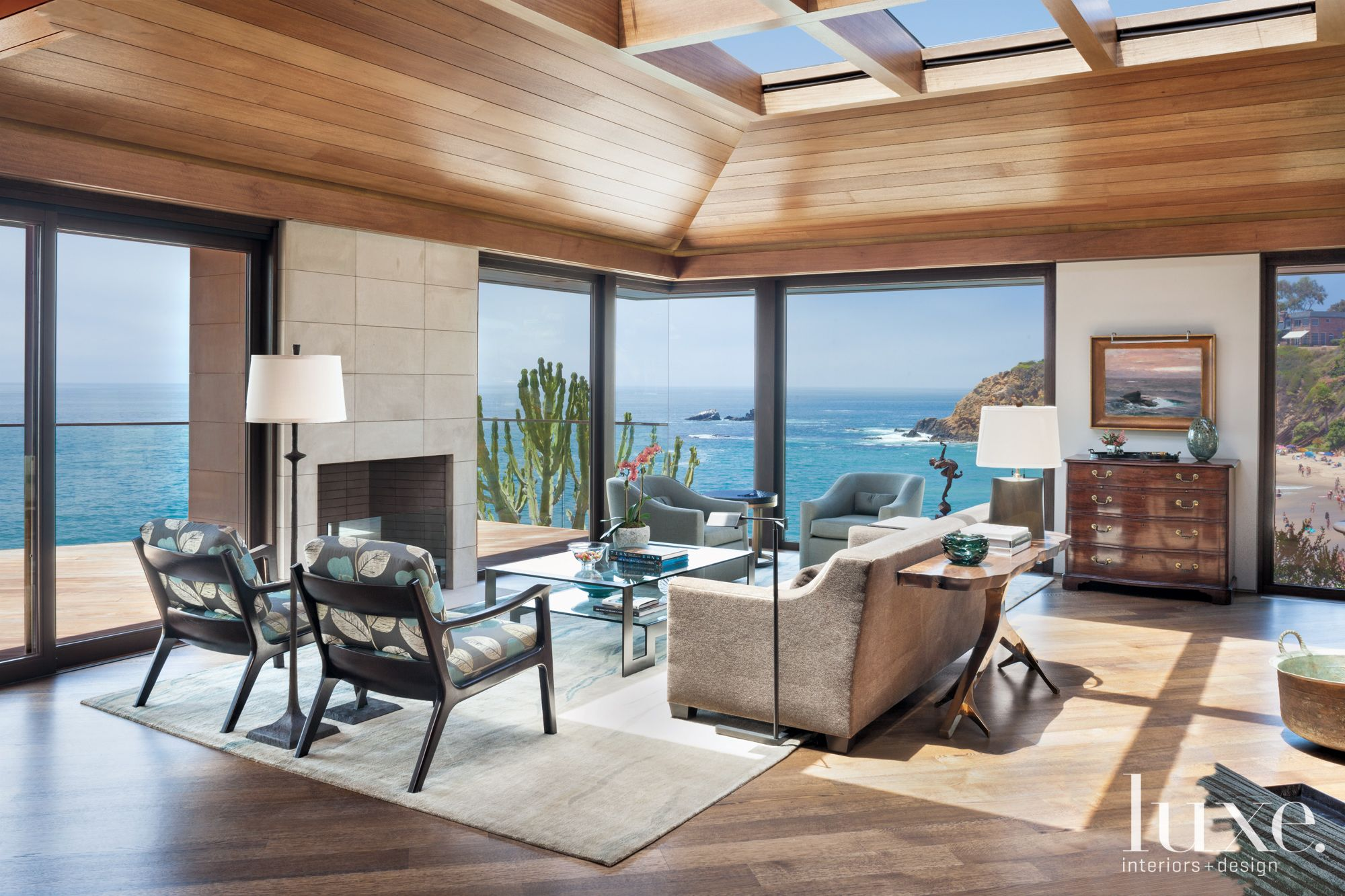 Contemporary Neutral Living Room with Ocean Bluff Views