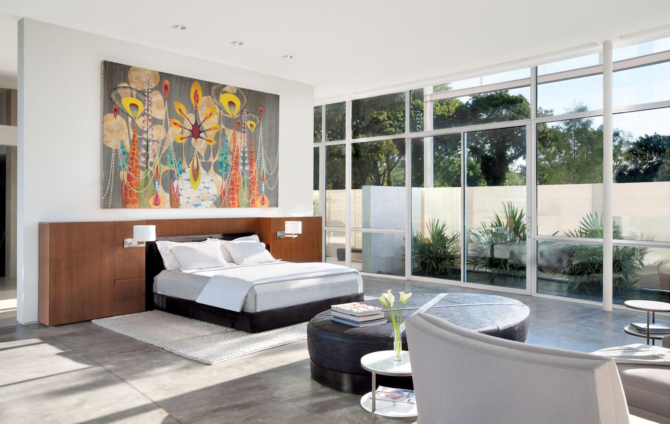 Modern White Bedroom with Oversized Art