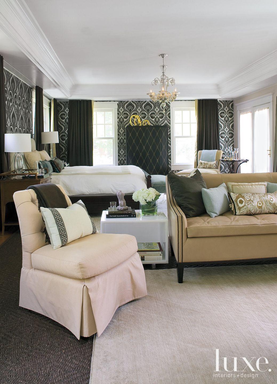 Black Transitional Bedroom Sitting Area