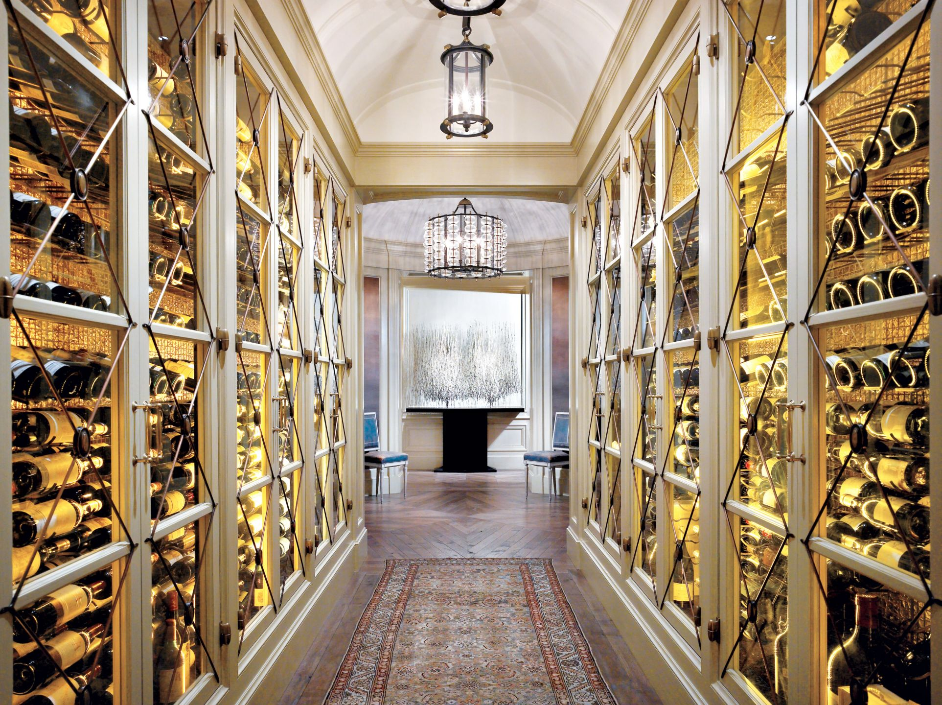 Traditional Cream Wine Cellar with Gold Leaf Accents