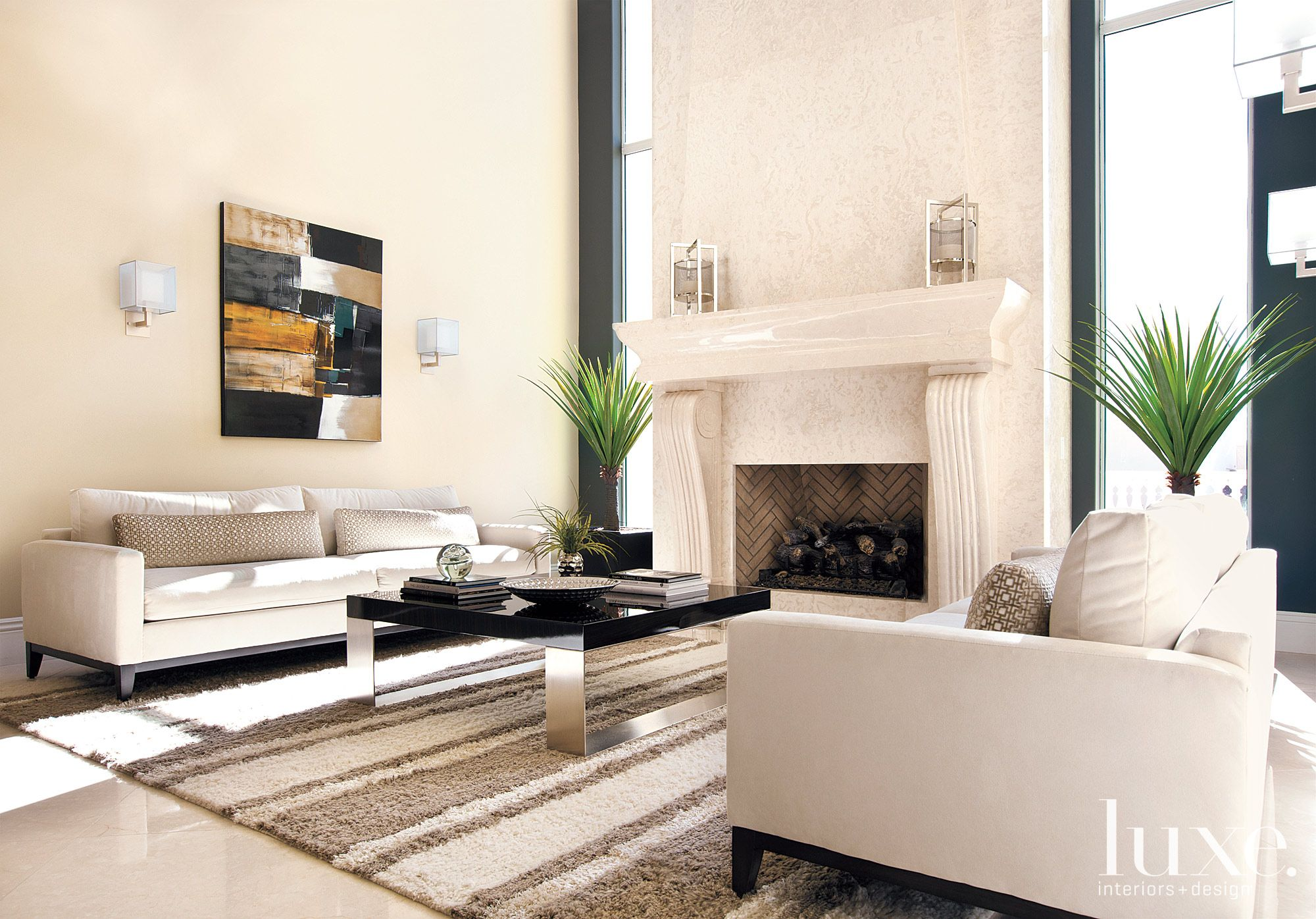 Contemporary White Living Room with Monochromatic Palette