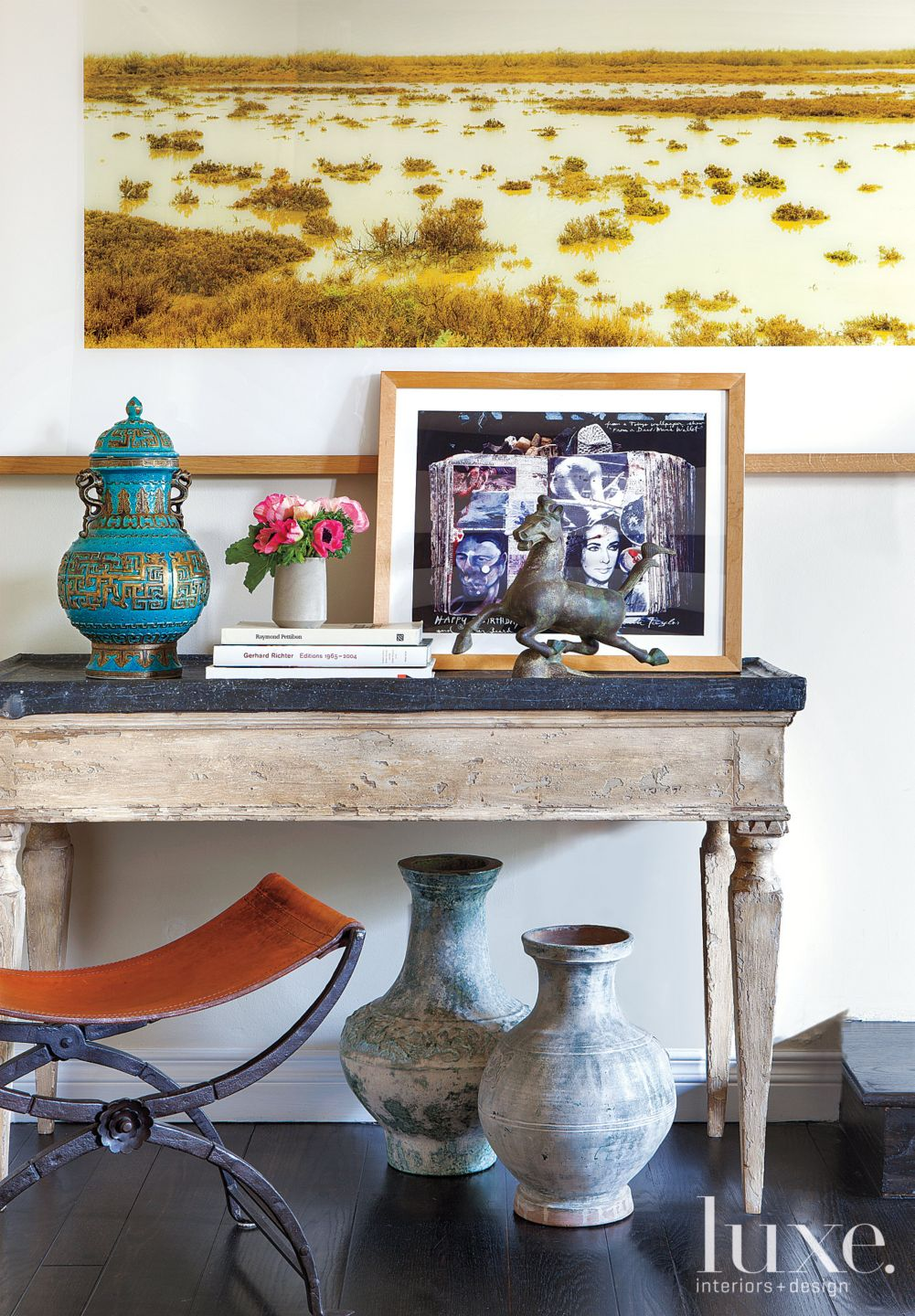 Eclectic White Living Room Accent Console