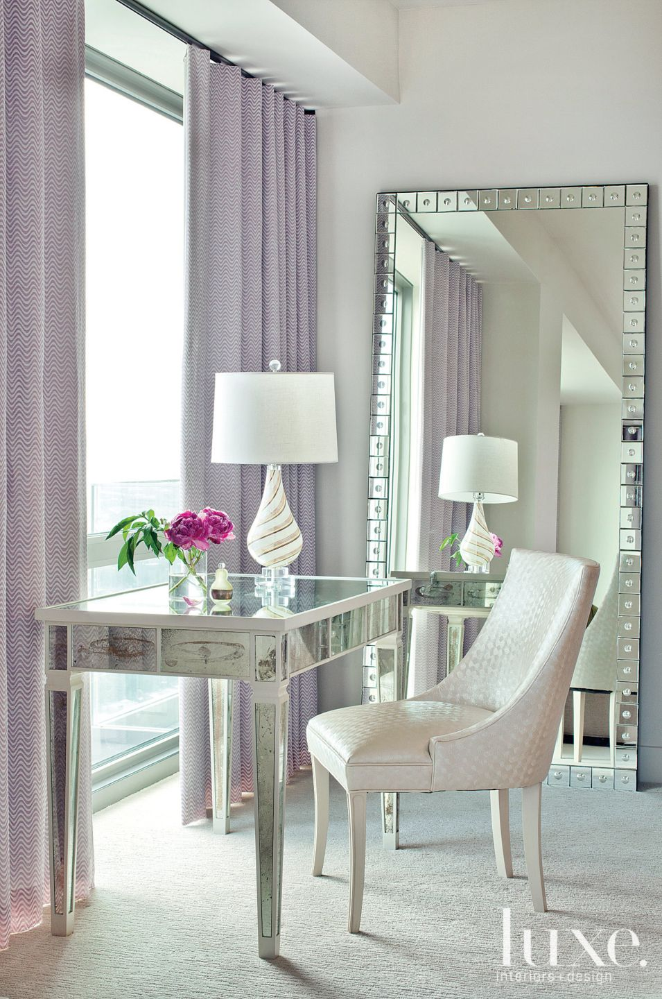 Contemporary Neutral Nook with Lavender Draperies