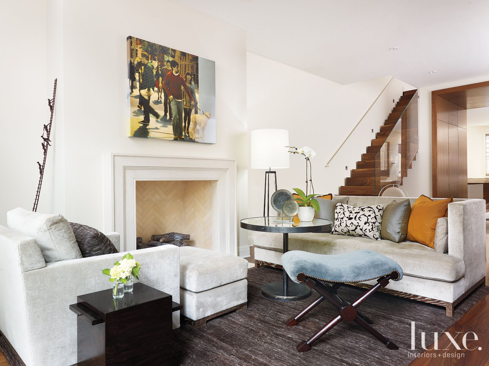 Contemporary White Living Room with Neutral-Colored Couch