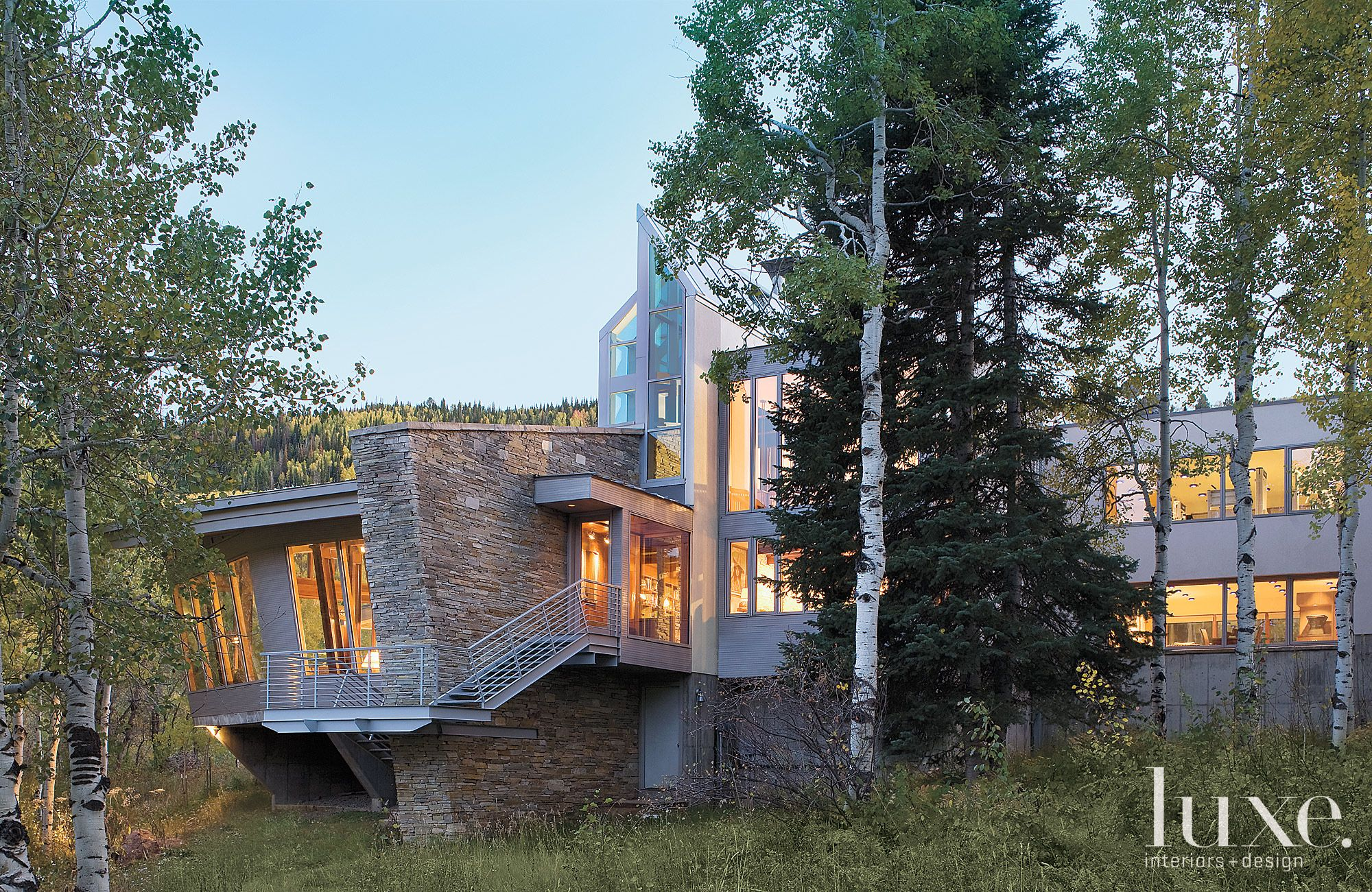 Modern Mountain House Front Steps