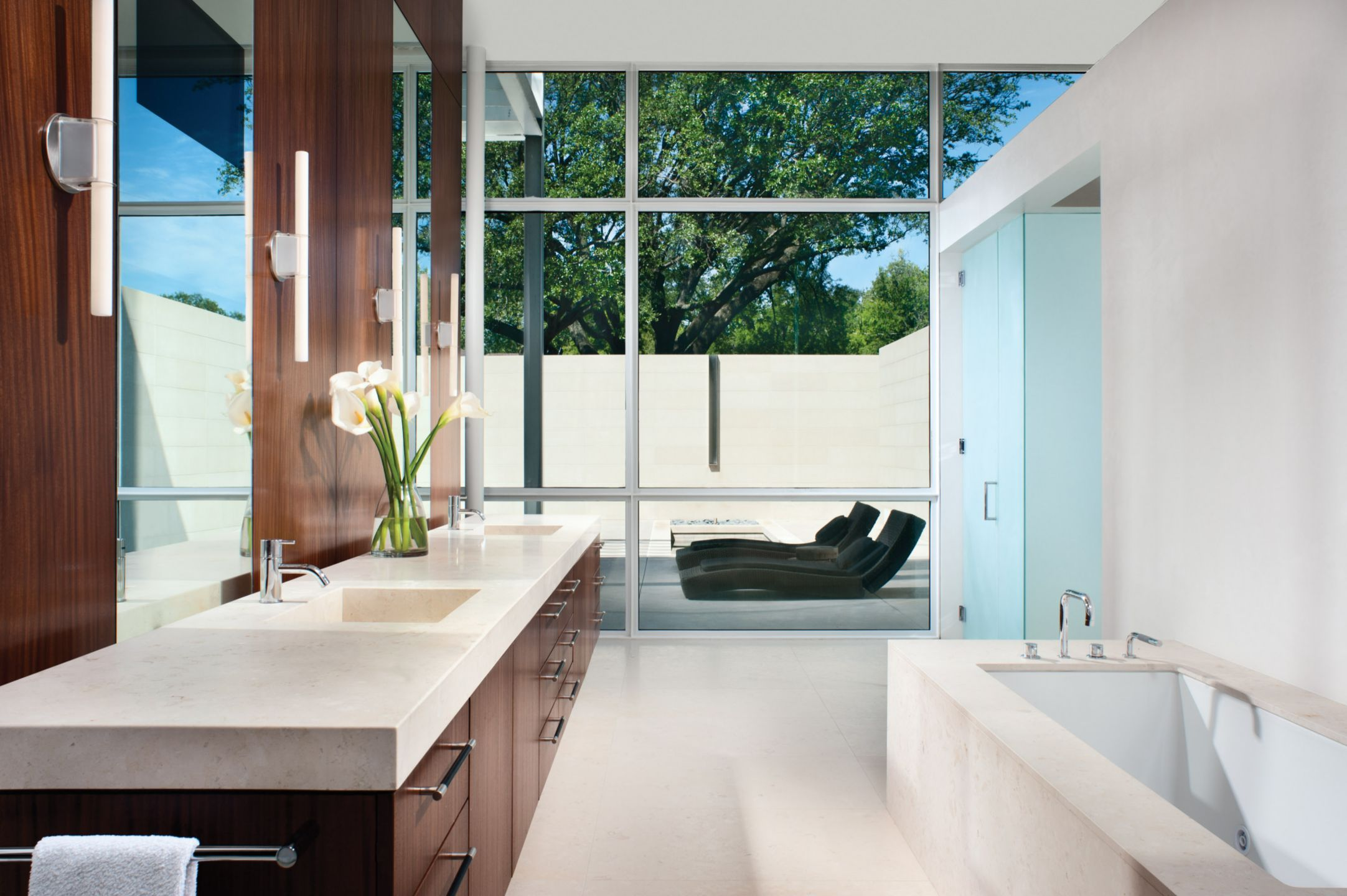 Modern White Bathroom with Afromosia Cabinetry