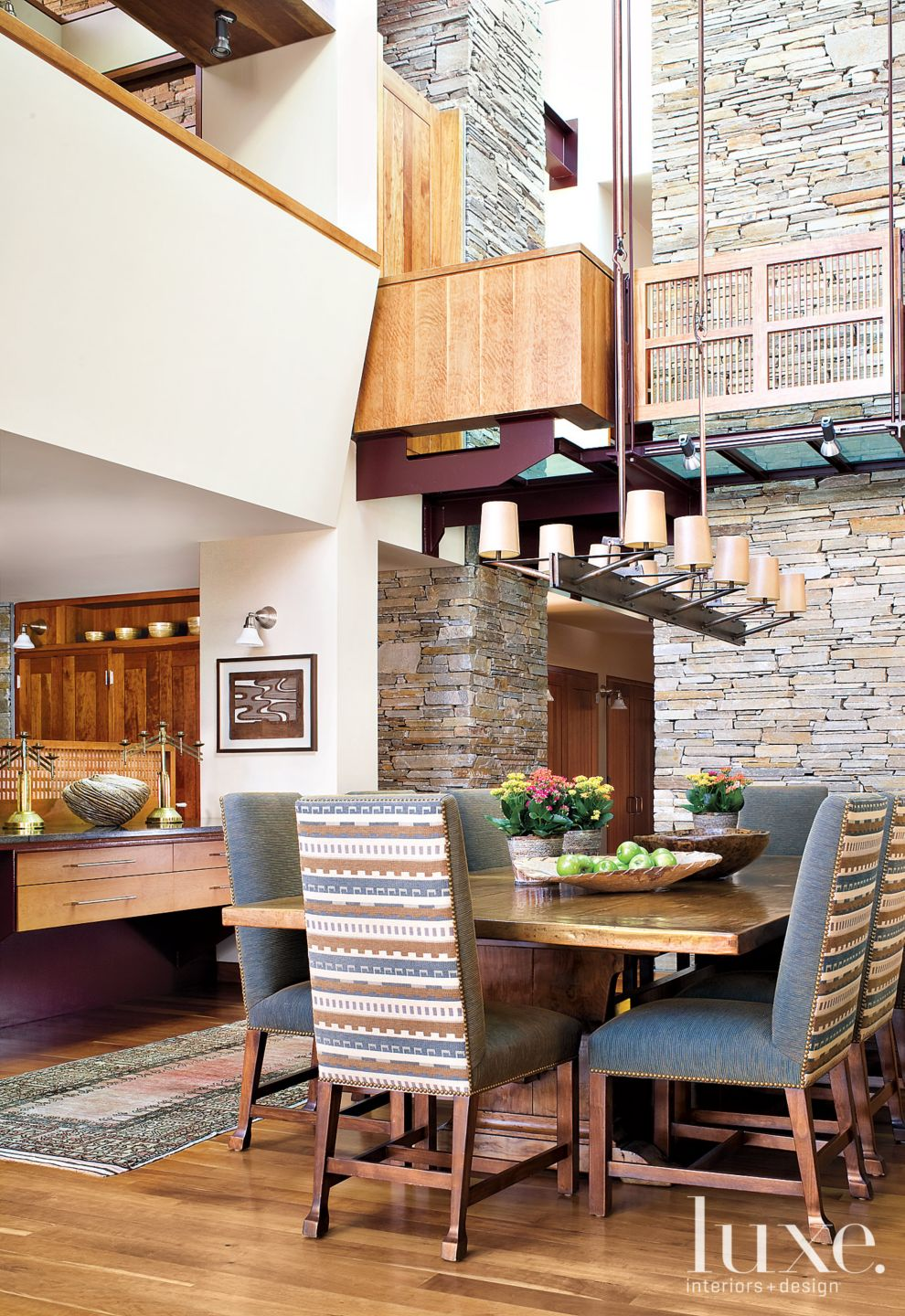 White Mountain Dining Room with Patterned Chairs