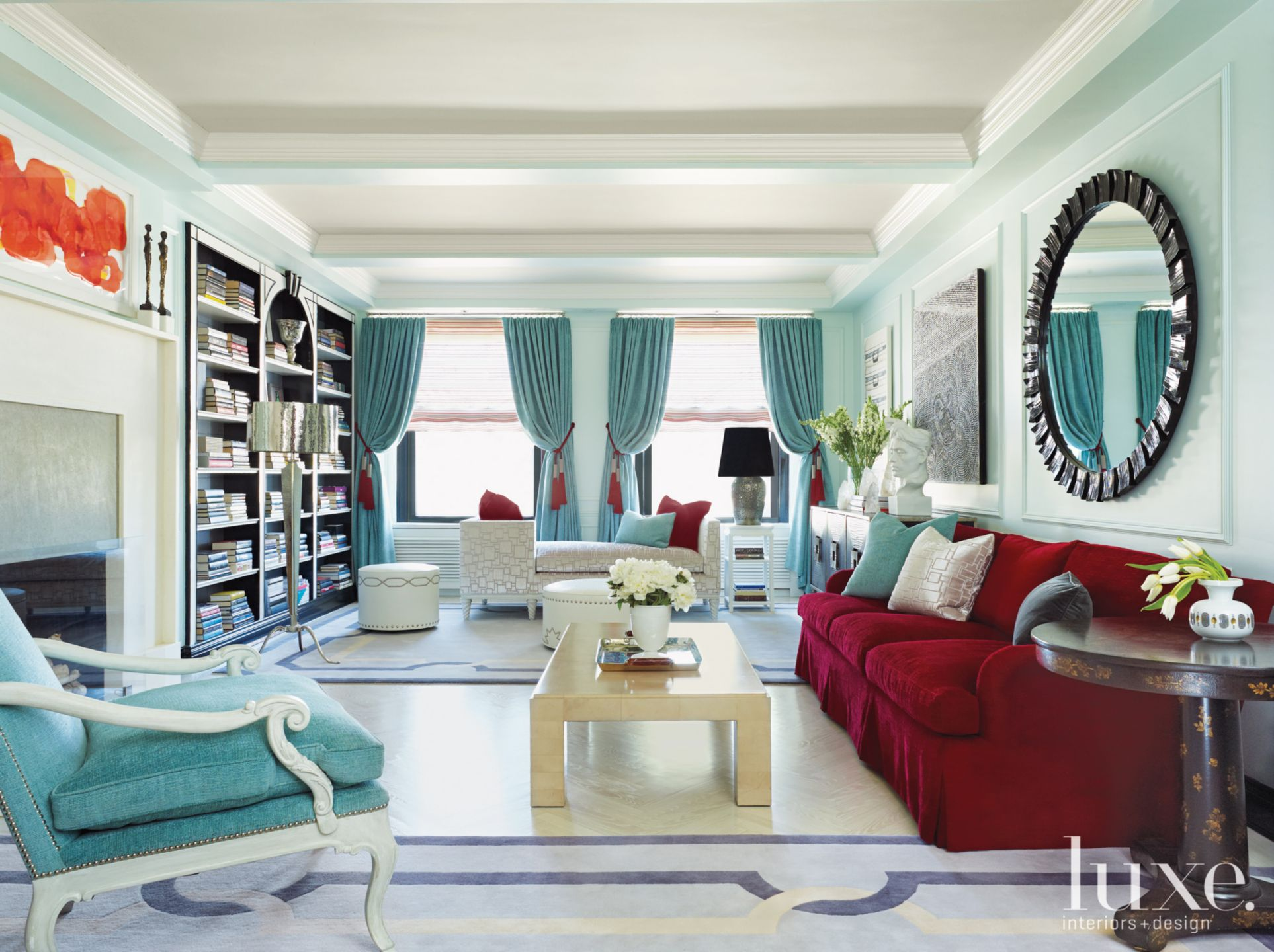 Turquoise Modern Living Room with Red Accents