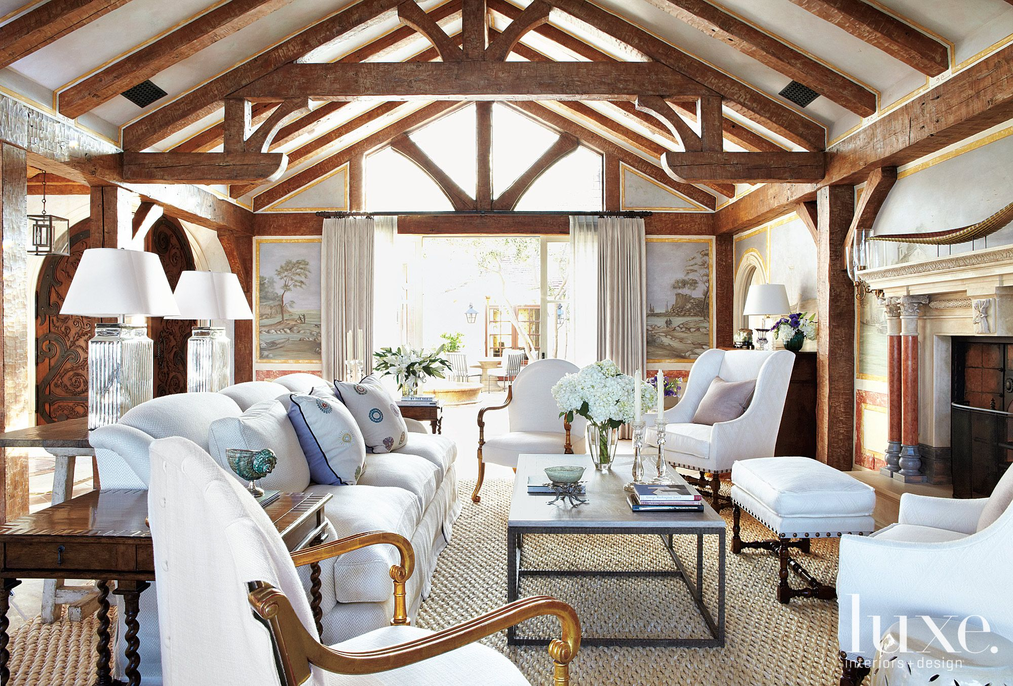 Mediterranean Living Room with White Upholstery