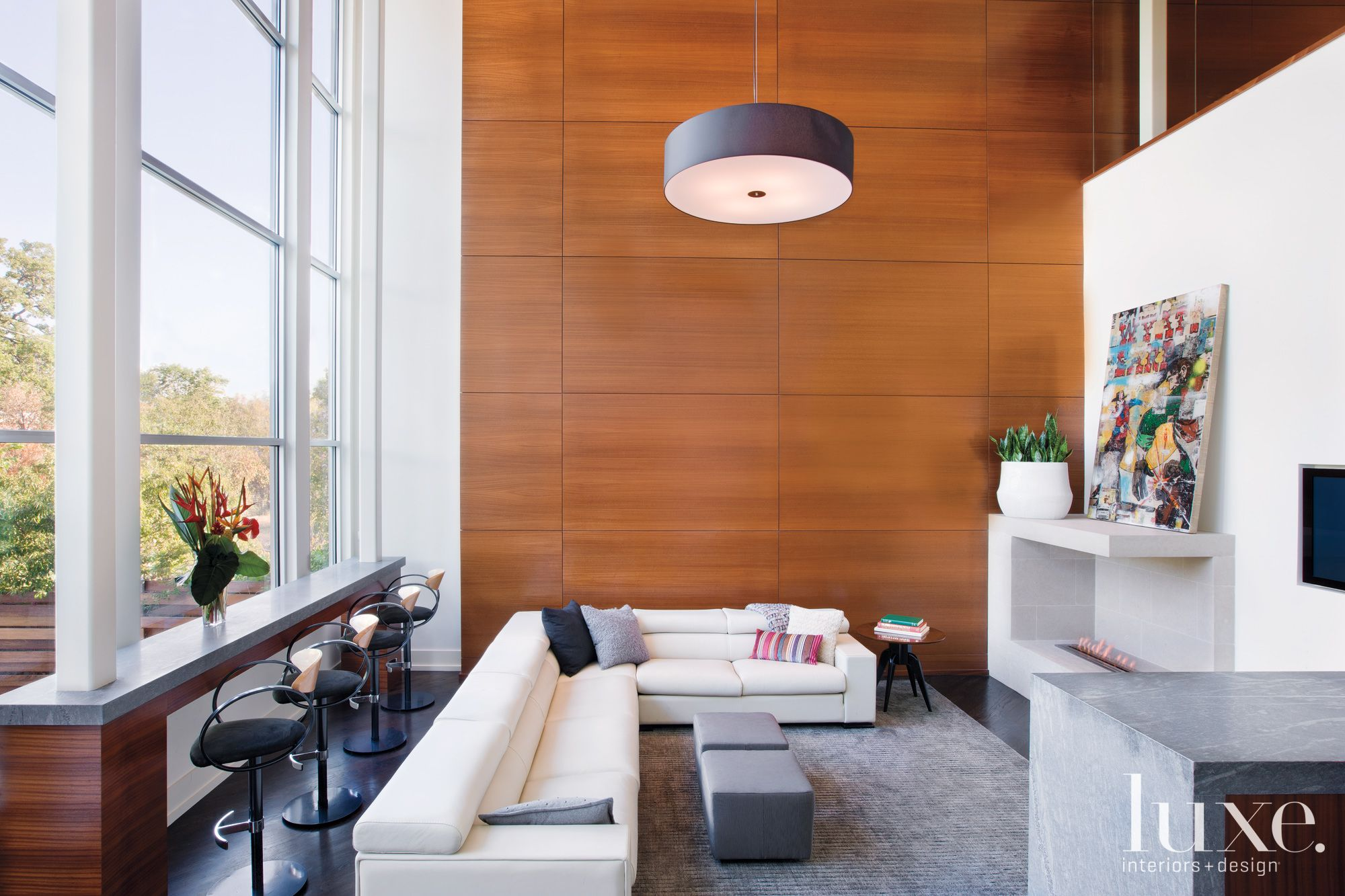 Modern White Family Room with Wood Paneled Accent Wall