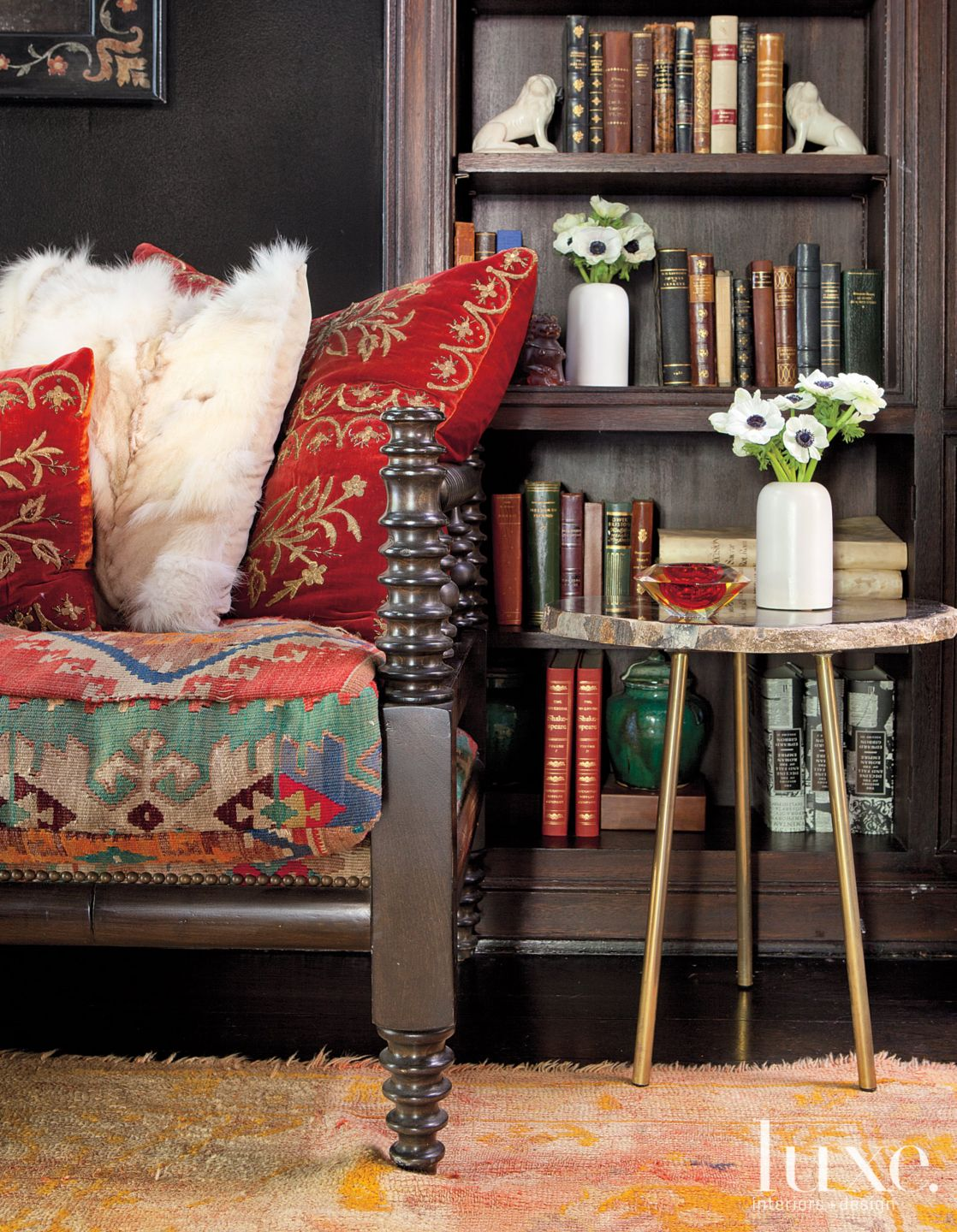Black Eclectic Den with Antique Daybed