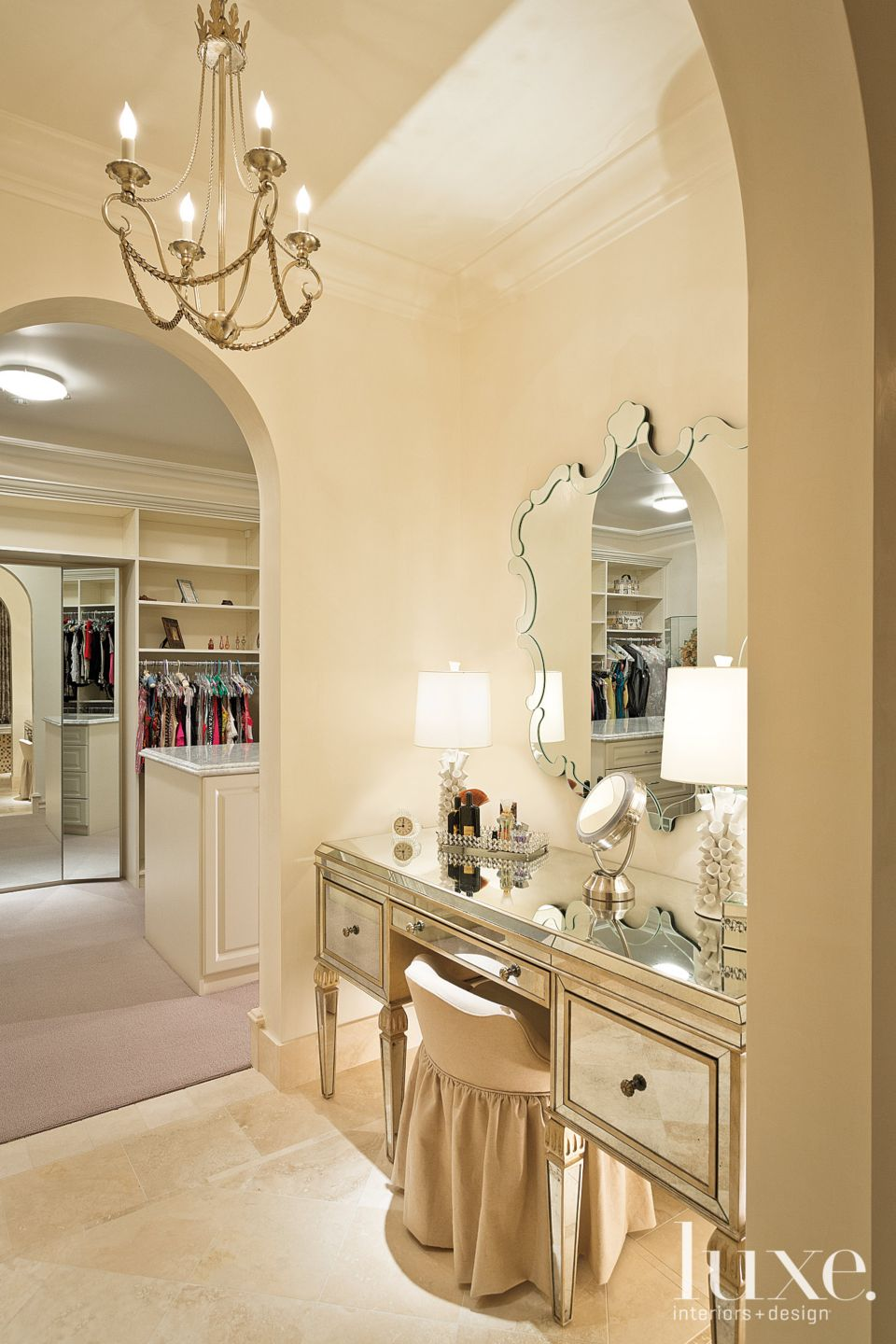 Neutral Bedroom Vignette with Antique-Style Dressing Table