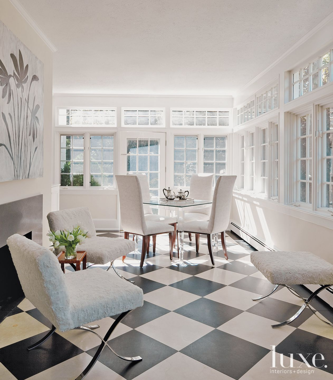 Transitional White Sunroom with Marble Floor