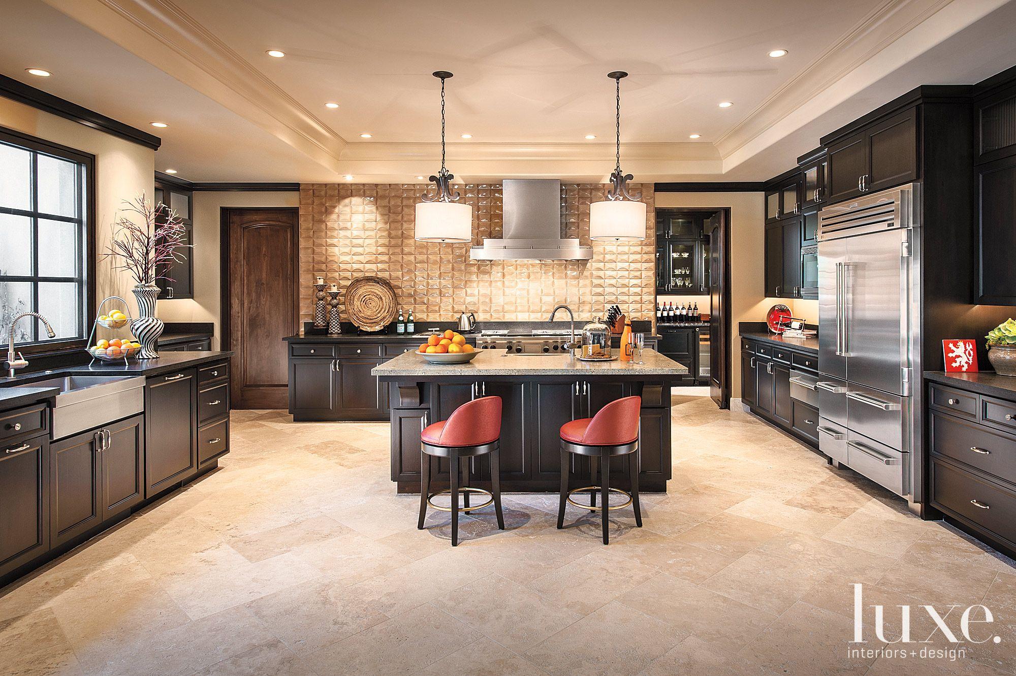 Contemporary Brown Kitchen with Textured Backsplash