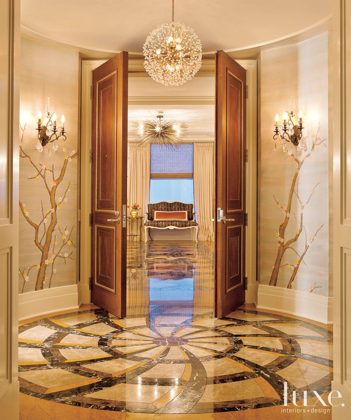 Eclectic Gold Foyer with Floral Wall Motif