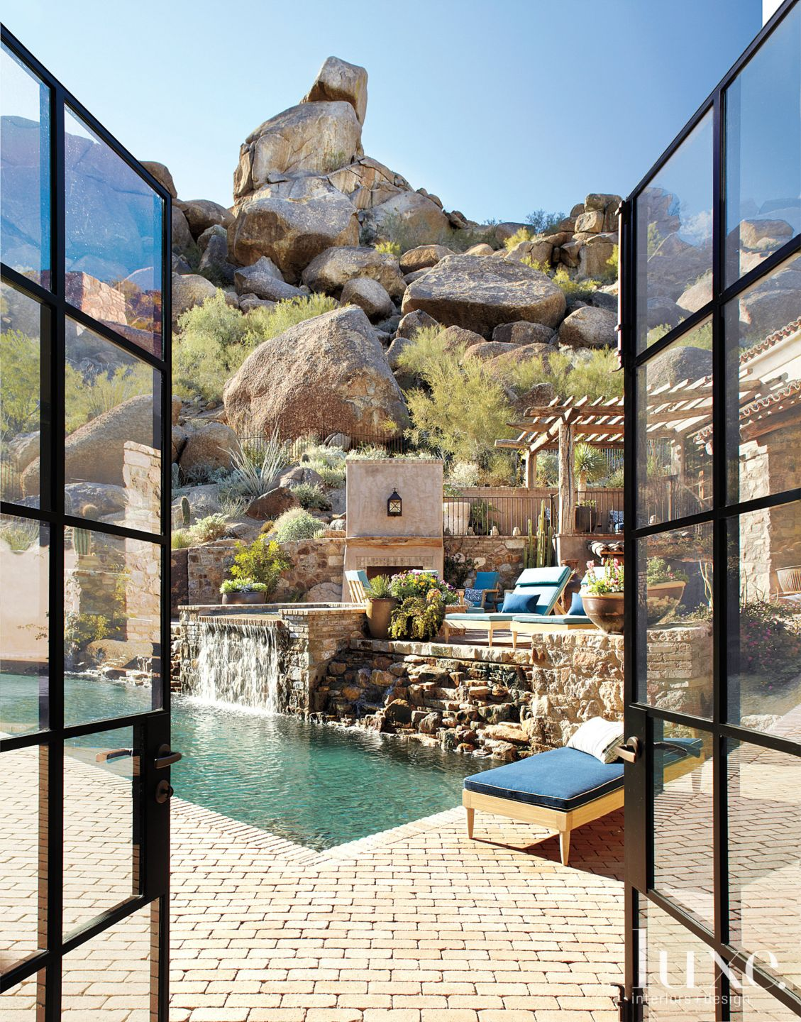Brick and Stone Mountain Patio with Pool