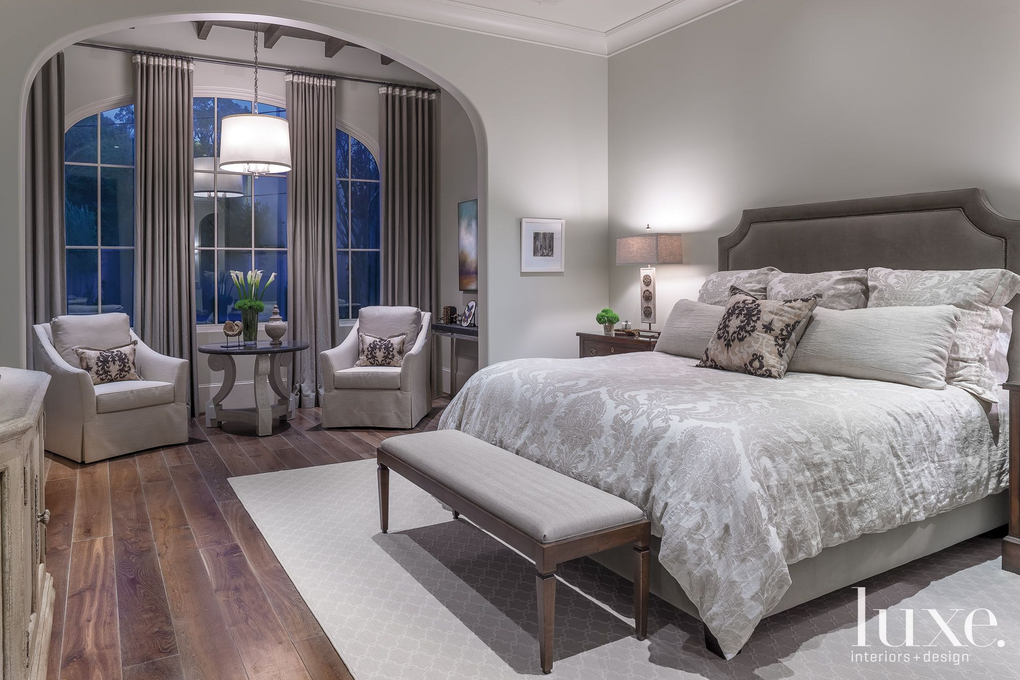 Transitional Gray Master Bedroom with Sitting Alcove