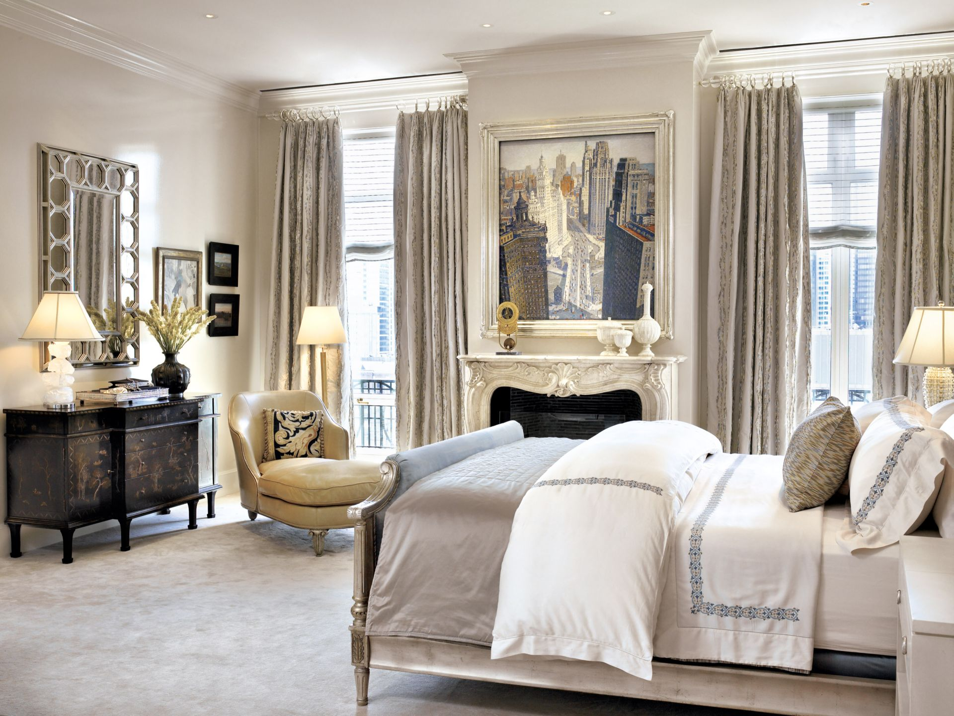 Traditional Neutral Bedroom with Yellow Leather Chair
