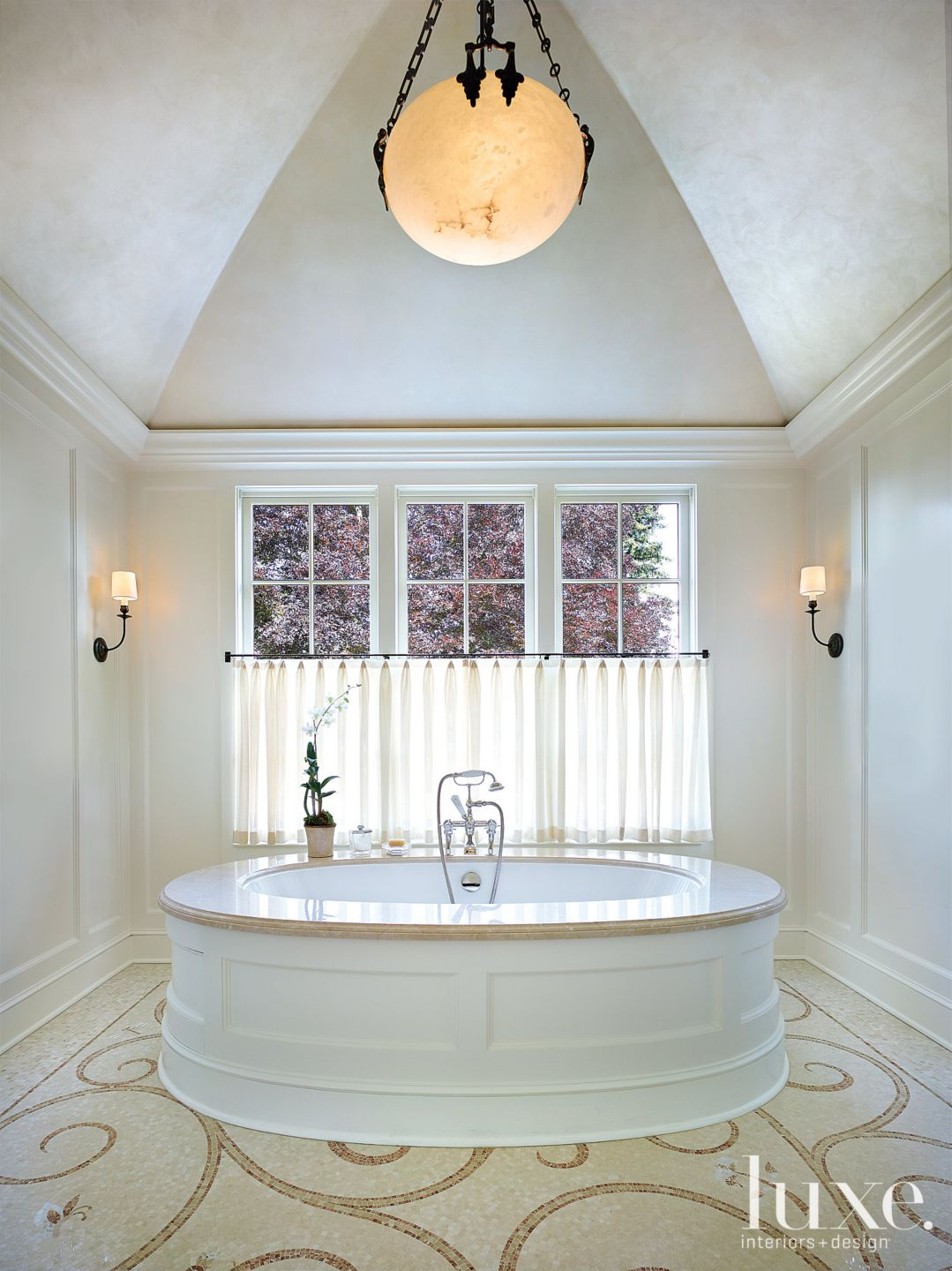 Traditional White Master Bath with Patterned Flooring