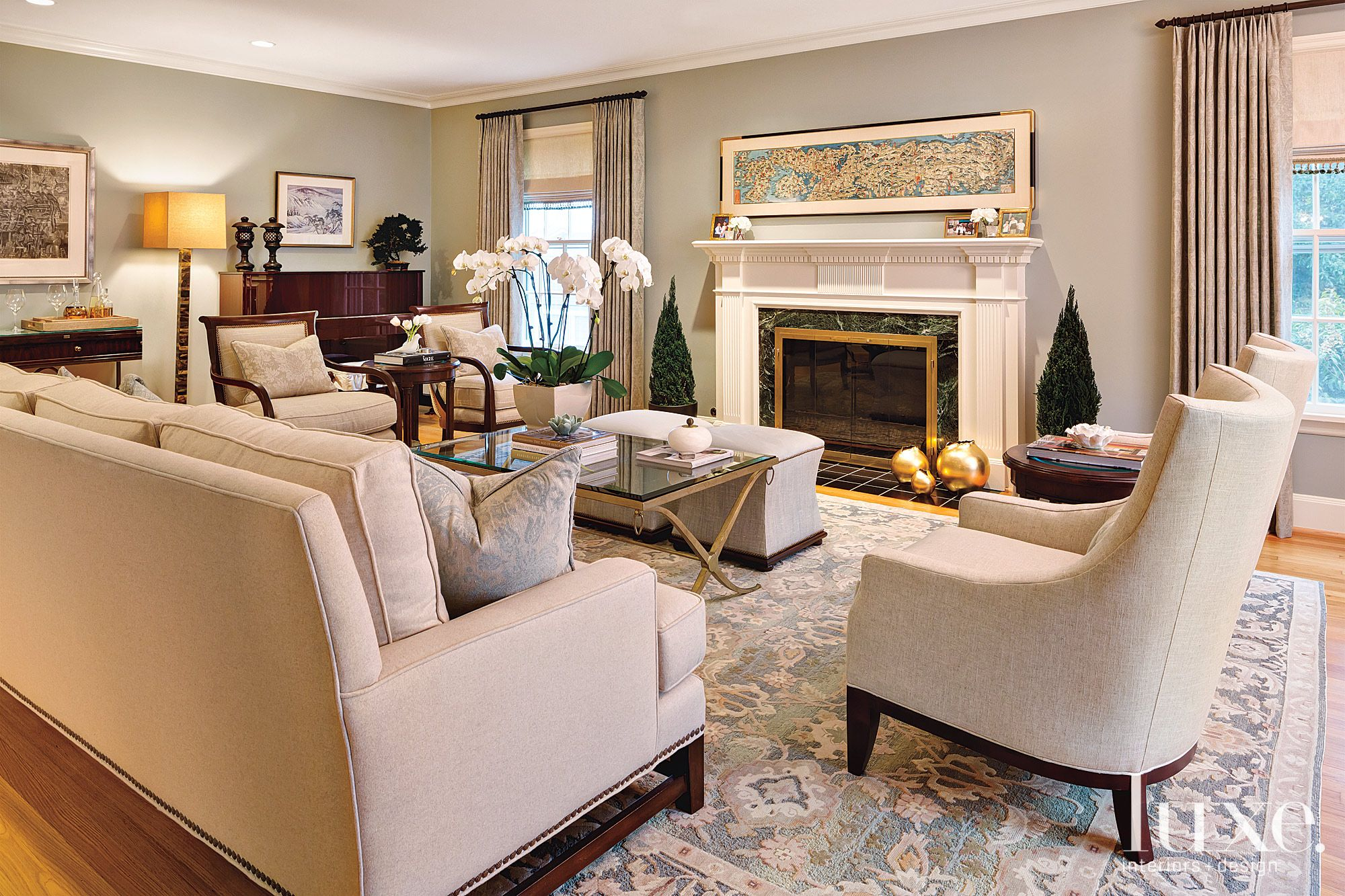 Transitional Neutral Living Room with Lounge Chairs