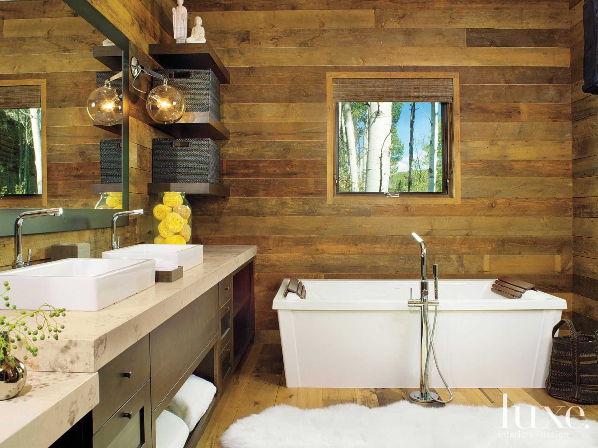 Mountain Neutral Bathroom with Wood Plank Walls