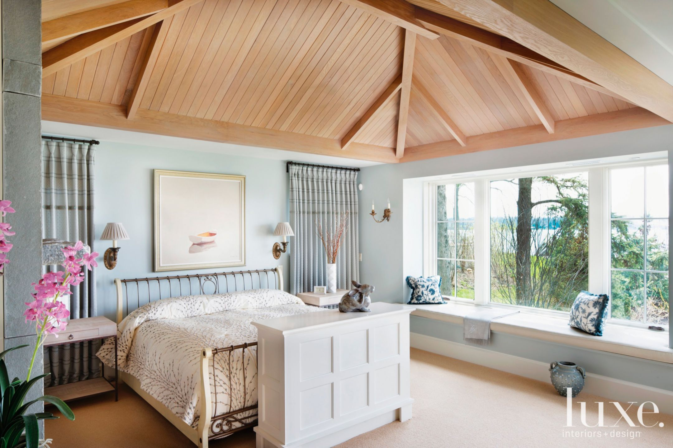 Contemporary Blue Bedroom with Lofted Oak Ceiling