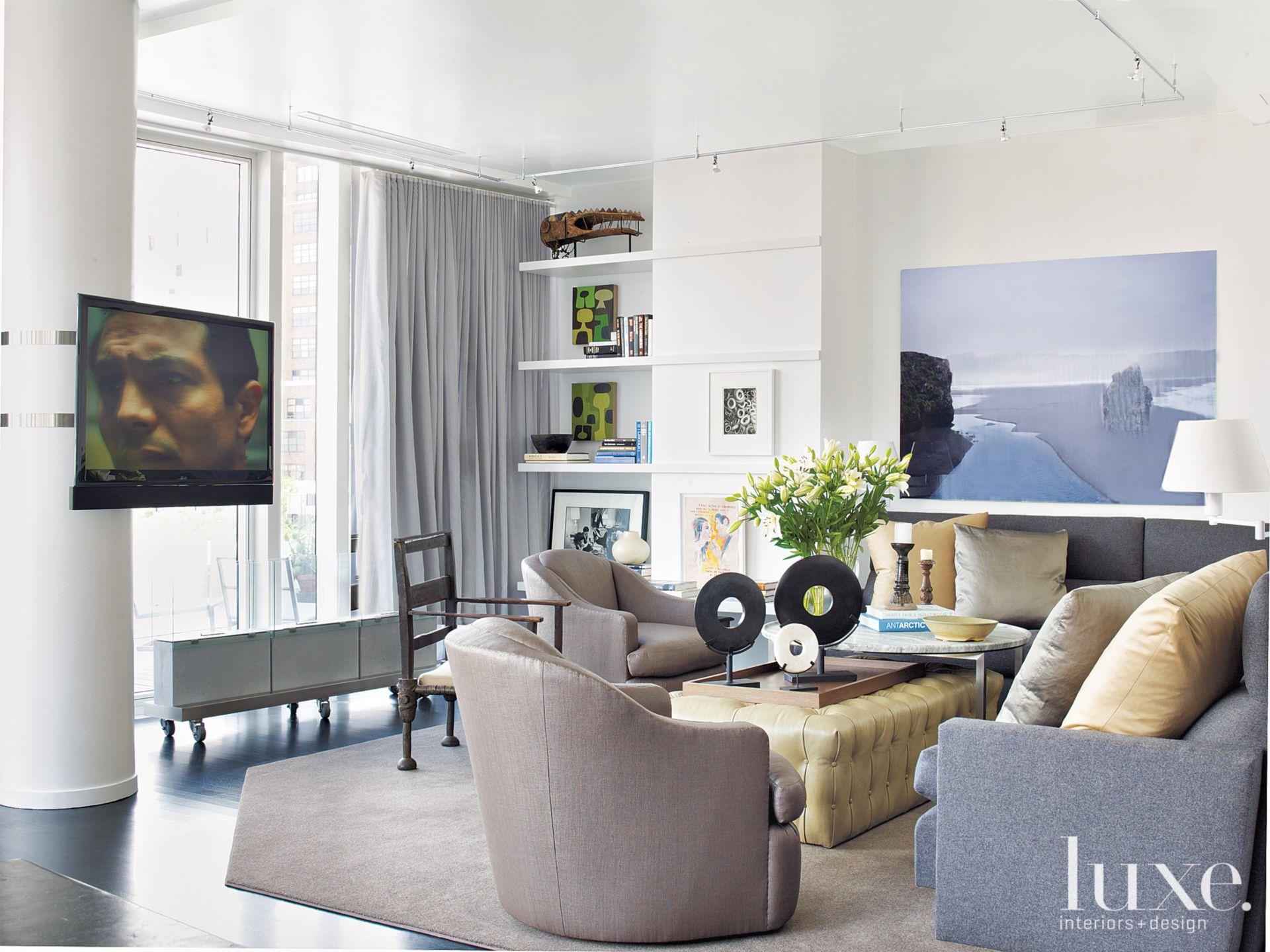Modern White and Grey Living Room