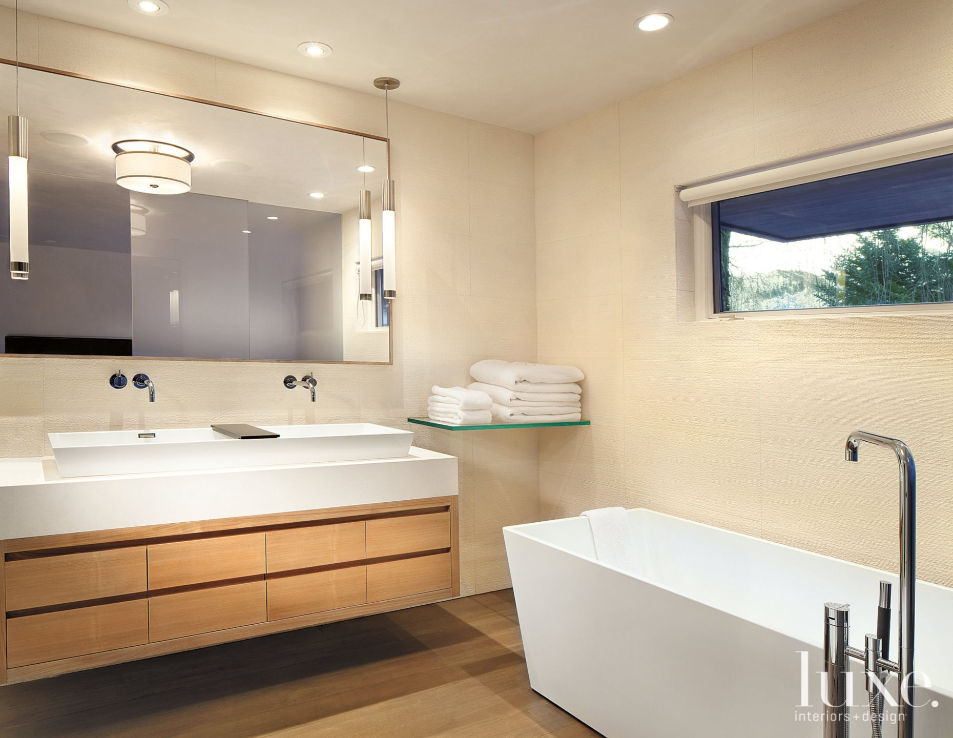 Modern Neutral Bathroom with White Oak Cabinetry