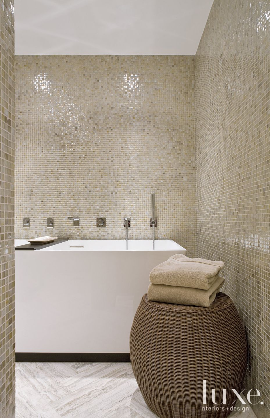 Contemporary Master Bathroom with Neutral Tilework