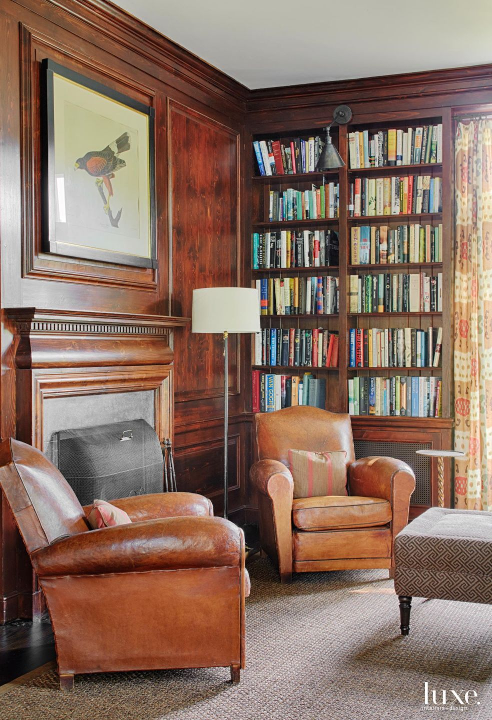 Traditional Brown Study with Antique Leather Club Chairs