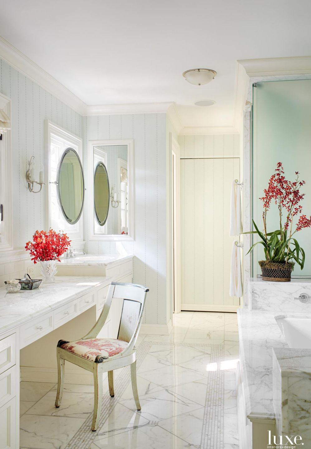 Traditional White Bathroom with Mosaic Tile Detail