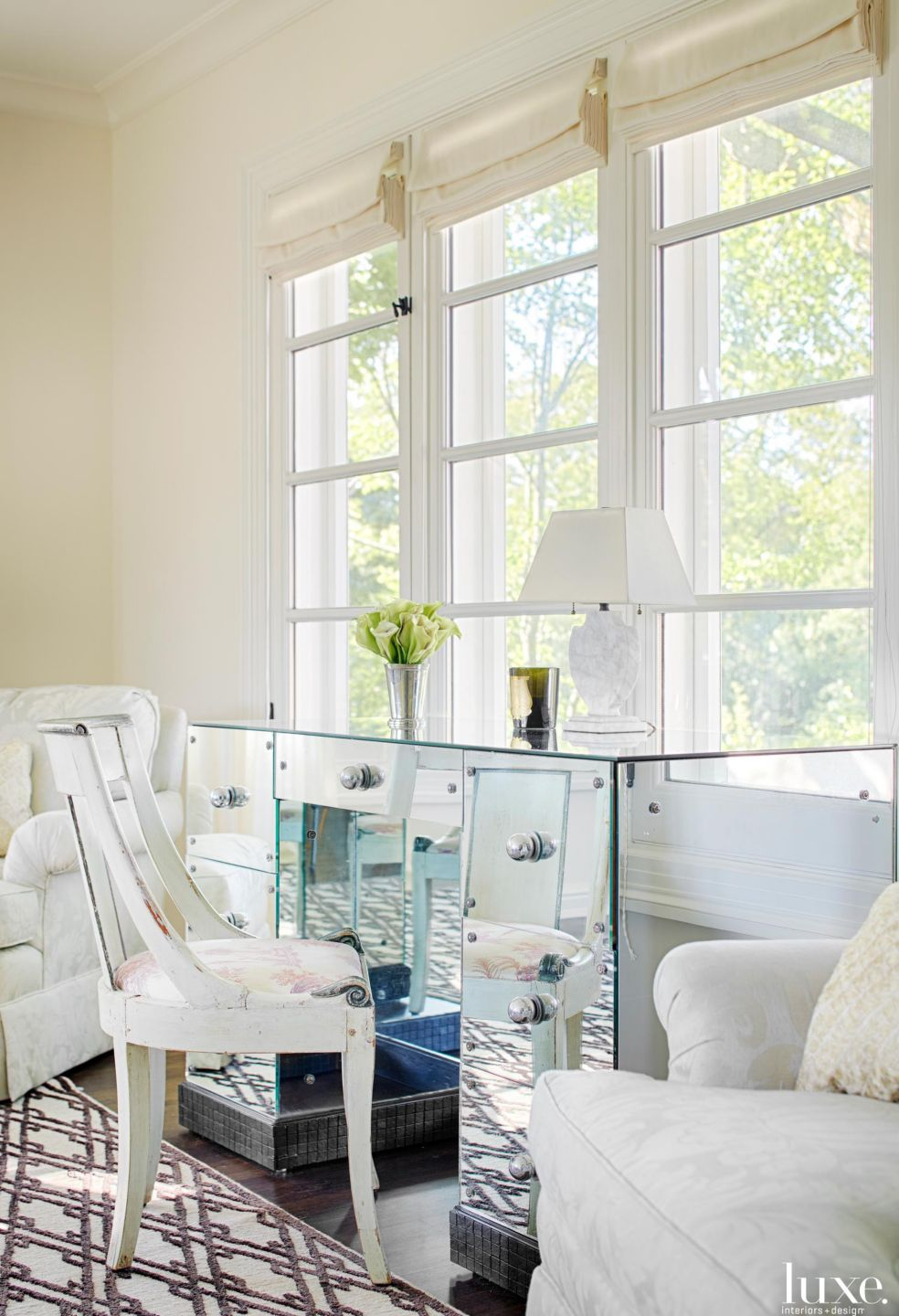 Traditional White Bedroom Vignette with Mirrored Vanity