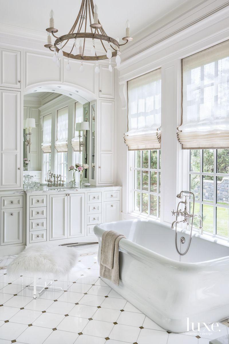 All-White Marble Master Bathroom