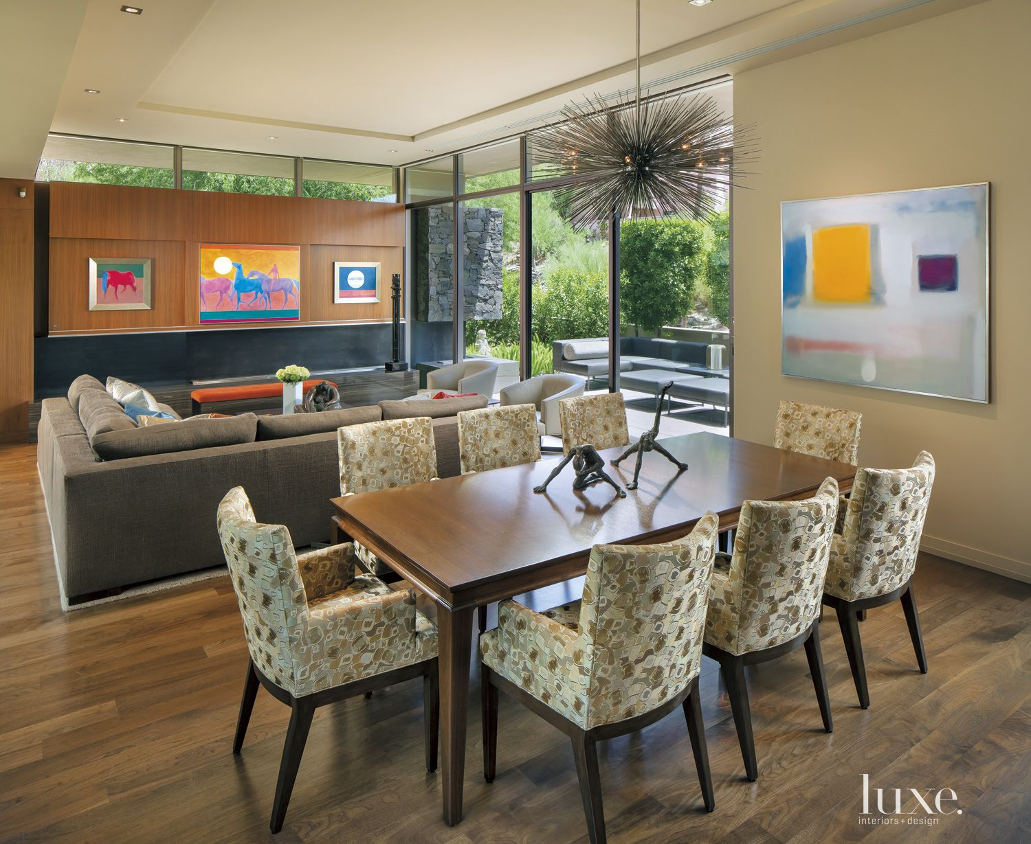 Contemporary Neutral Dining Area with Sunburst Pendant