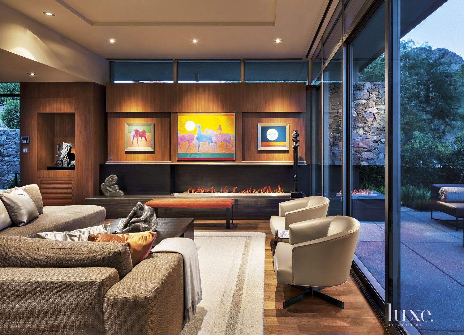 Contemporary Neutral Living Area with Clerestory Windows